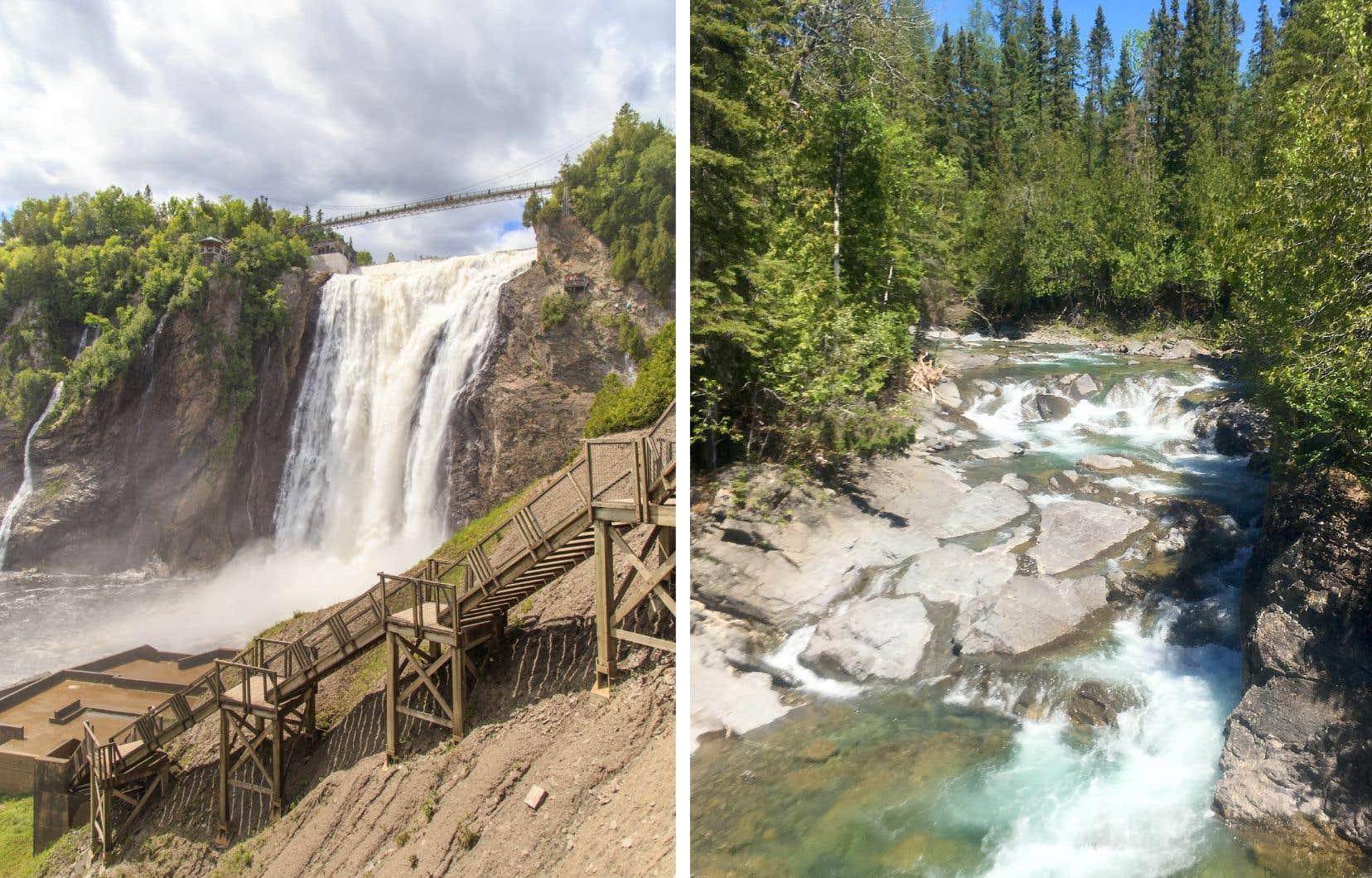 La chute Montmorency, à quelques minutes du centre-ville de Québec, et la rivière Bonaventure, en Gaspésie