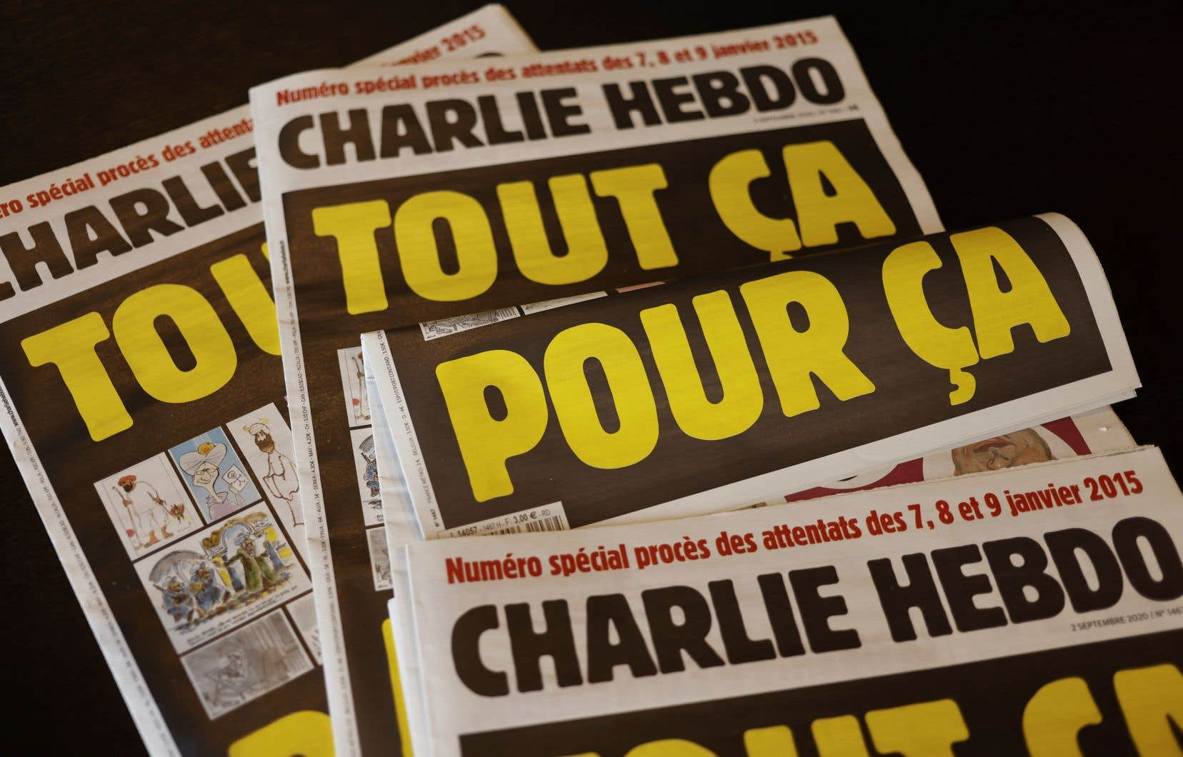 La Une du prochain <i>Charlie Hebdo</i>, sous le titre «Tout ça pour ça», reproduit aussi une caricature du prophète signée par son dessinateur Cabu, assassiné dans l'attentat du 7janvier 2015.