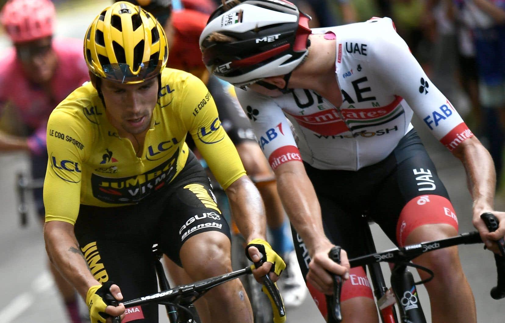Primoz Roglic (maillot jaune) et Tadej Pogacar ont démontré leur supériorité dans les grandes ascensions qui ont rythmé le parcours ces deux dernières semaines.