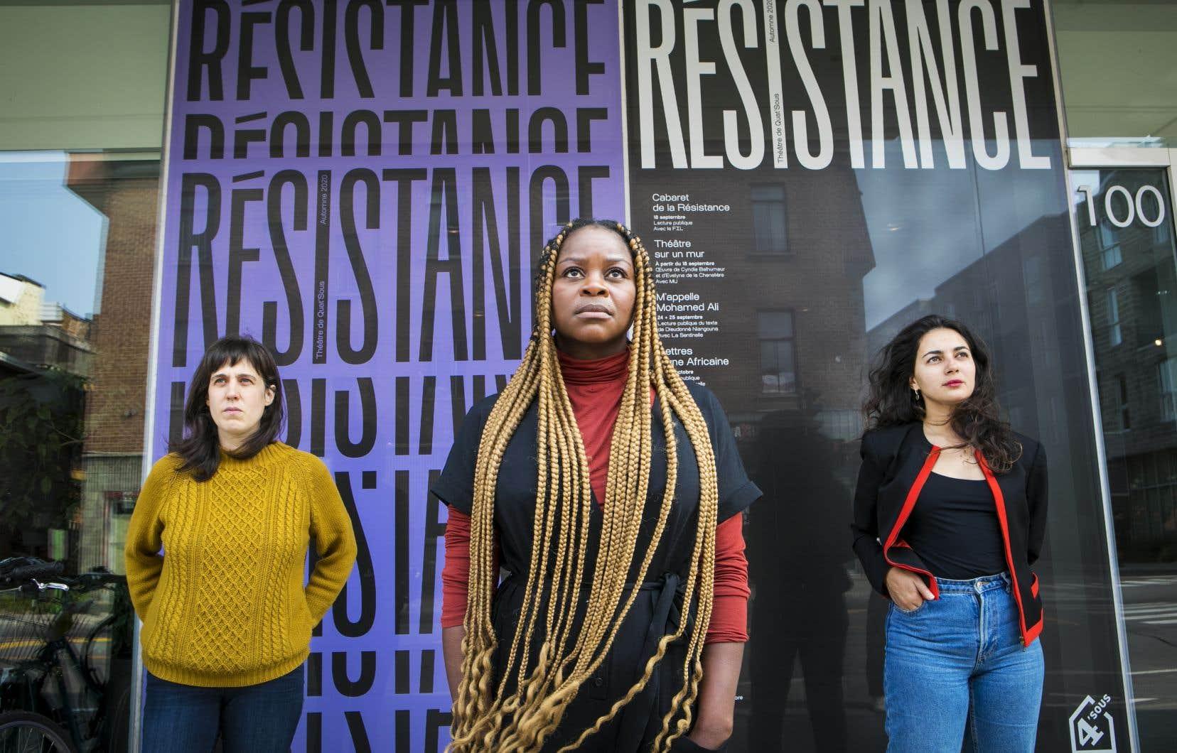 Dans le <em>Cabaret</em>, 13 lecteurs présenteront des manifestations de la résistance. Sur la photo: Sarah Berthiaume (à gauche), Tatiana Zinga Boato et Mounia Zahzam (à droite).