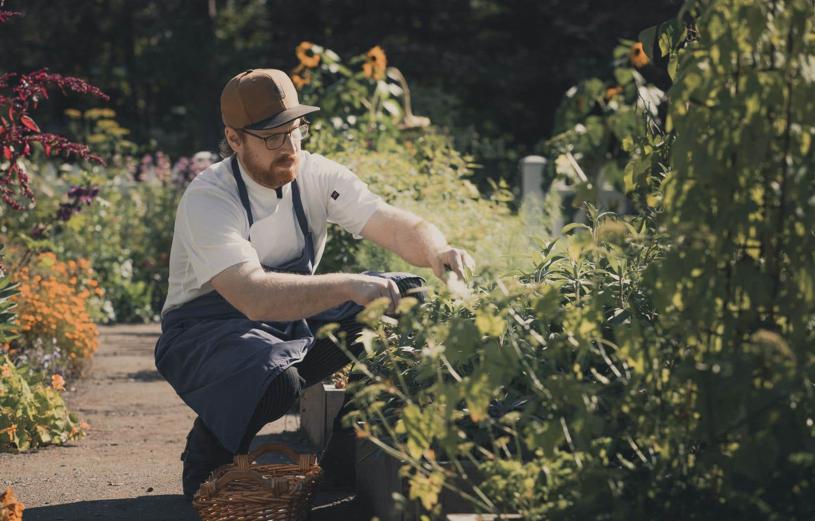 Le chef Frédérick Boucher, dans les Jardins de Métis