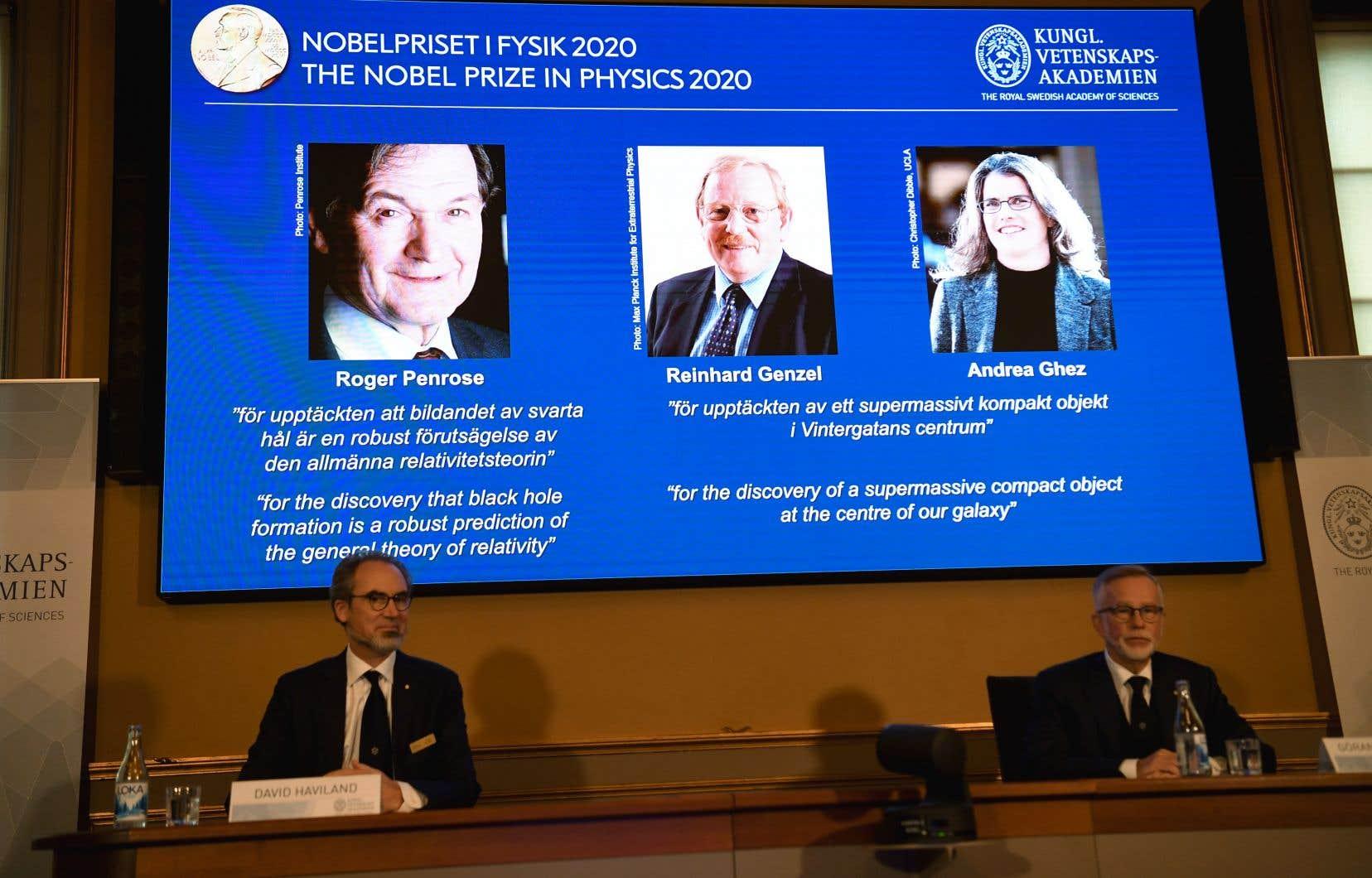 Le Nobel de physique va cette année au Britannique Roger Penrose, à l'Allemand Reinhard Genzel et à l'Américaine Andrea Ghez.