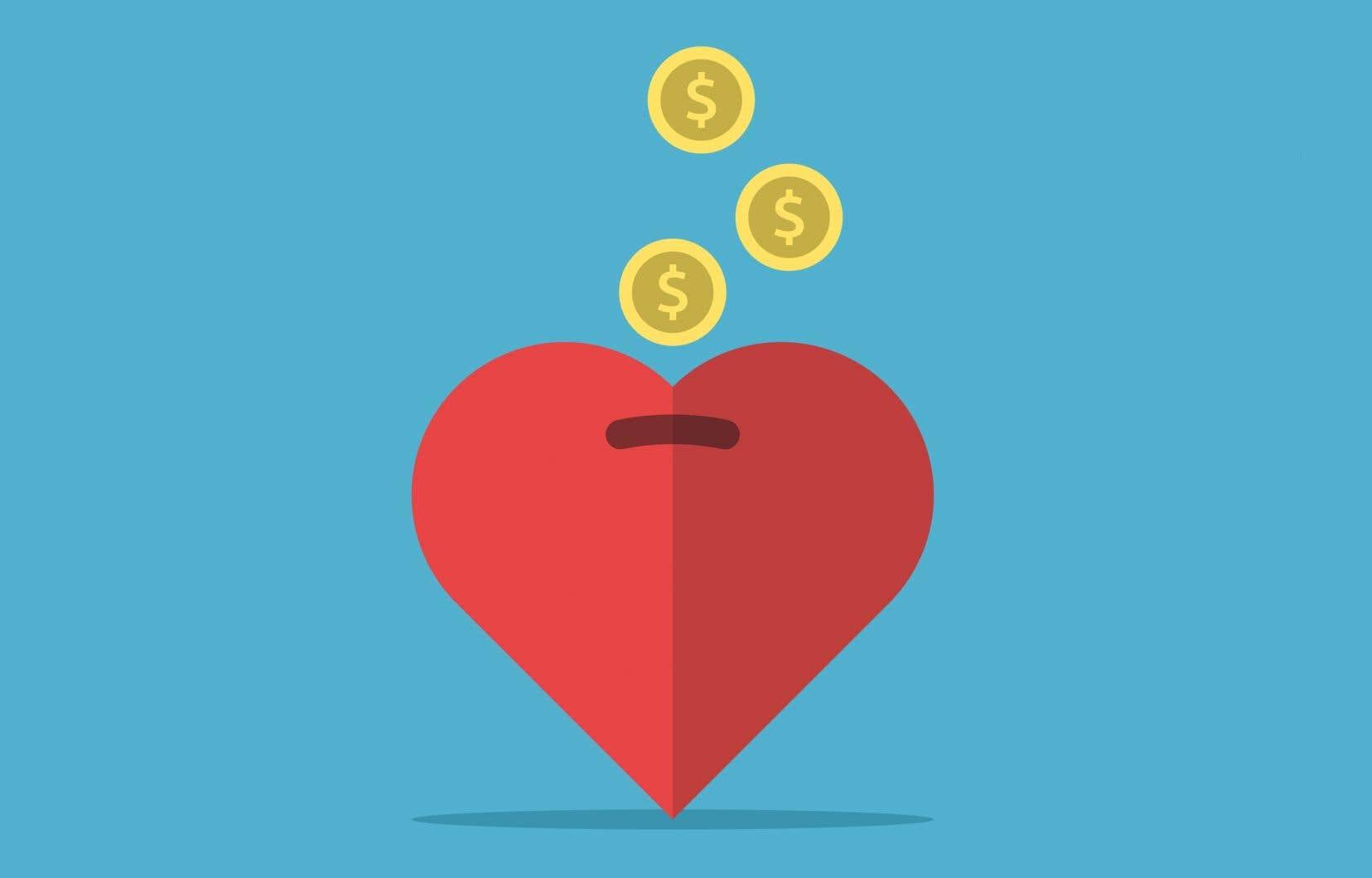Pour chaque tranche de 100$ gagnés, un Québécois verse en moyenne 30 cents au milieu caritatif, le plus bas taux au pays.