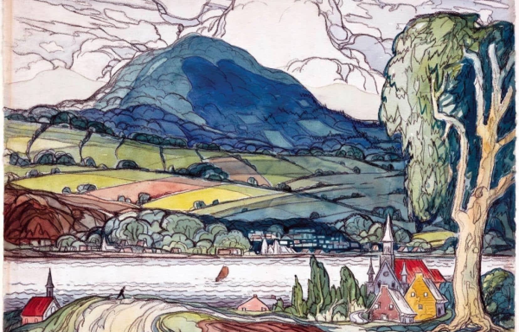 Marc-Aurèle Fortin, <em>Sainte-Famille, île d'Orléans</em>, 1941. Aquarelle et craie noire sur papier. <br />