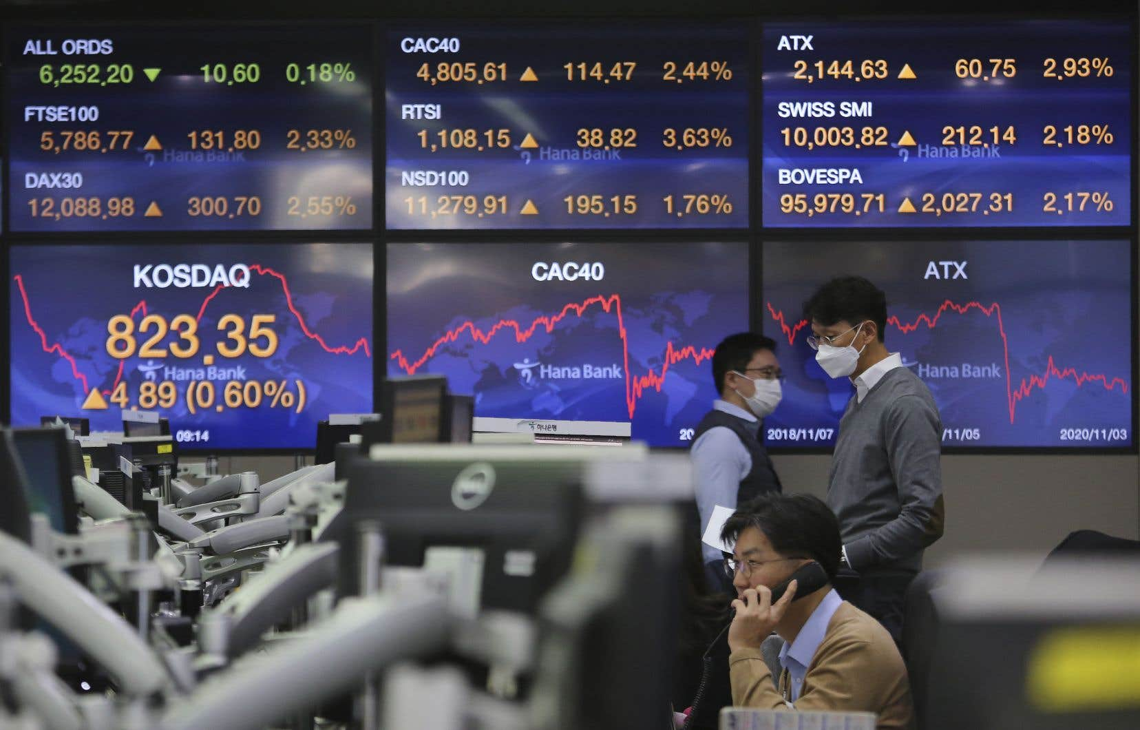 Des courtiers  de la KEB Hana Bank, à Séoul, en Corée du Sud, surveillent les marchés  au lendemain des élections américaines.