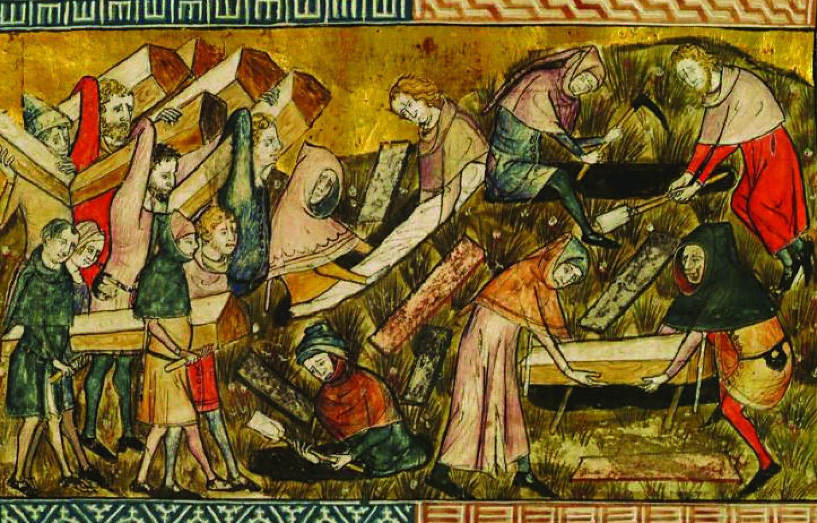 On dit que le XIVe siècle est calamiteux parce que la peste s'ajoute à des famines, des crises économiques répétées, la guerre de Cent Ans qui fauche aussi son lot de personnes, explique la professeure Geneviève Dumas. Sur l'illustration, des gens enterrent des victimes de la peste noire, à Tournai, en Belgique.