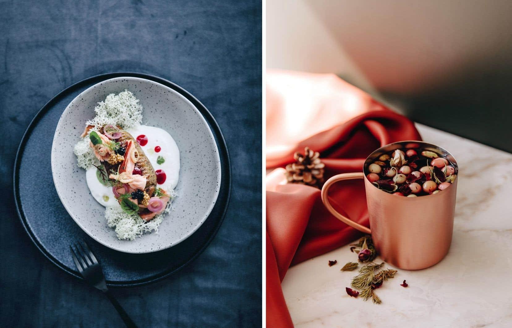 Une assiette de pommes de terre Hasselback et un glögg boréal, tous deux tirés du livre <em>La cuisine nordique. Recette pour nourrir le corps, l'âme et l'esprit</em>