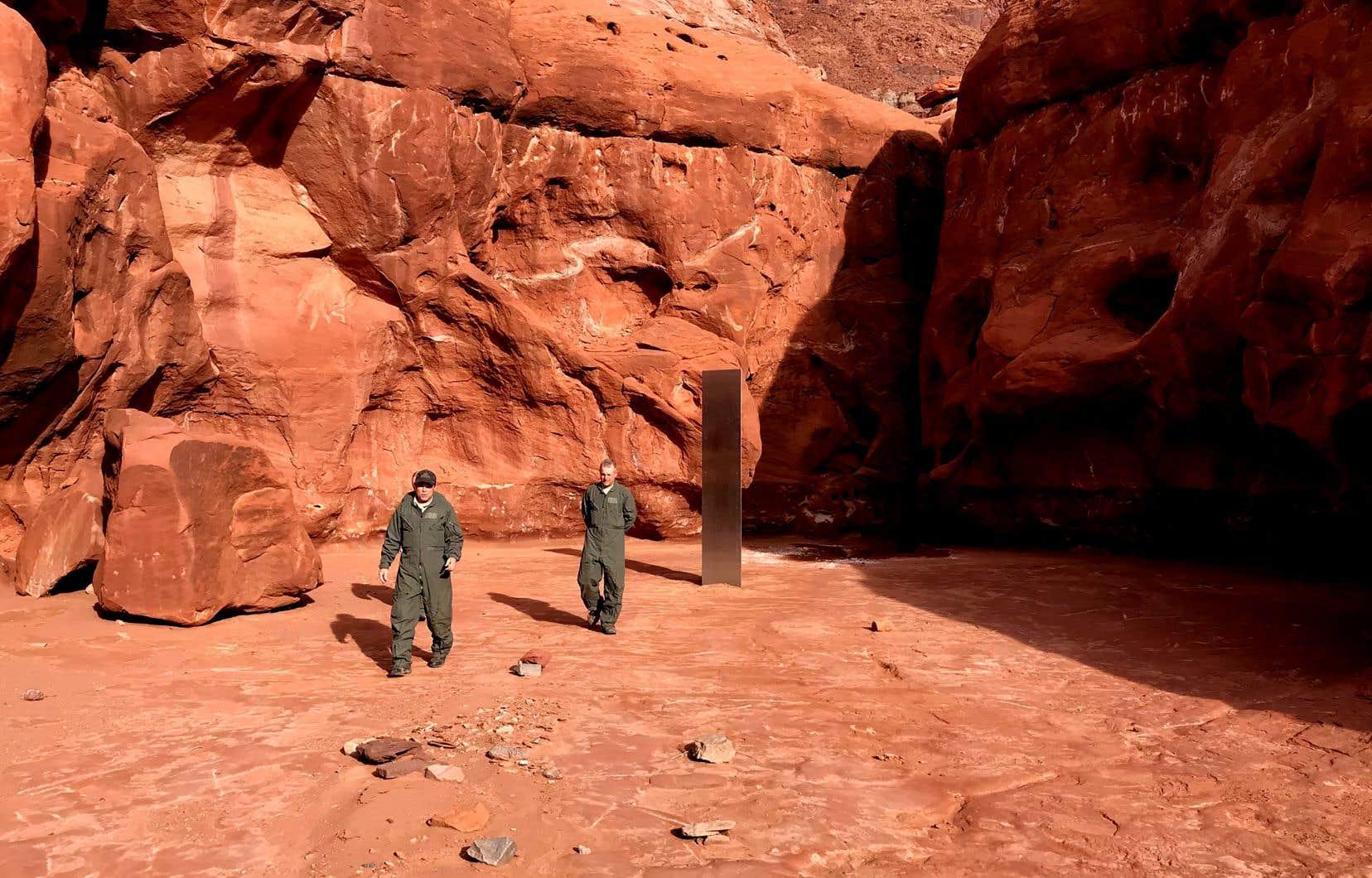 Des biologistes avaient découvert le mystérieux monolithe argenté le 18 novembre dernier.
