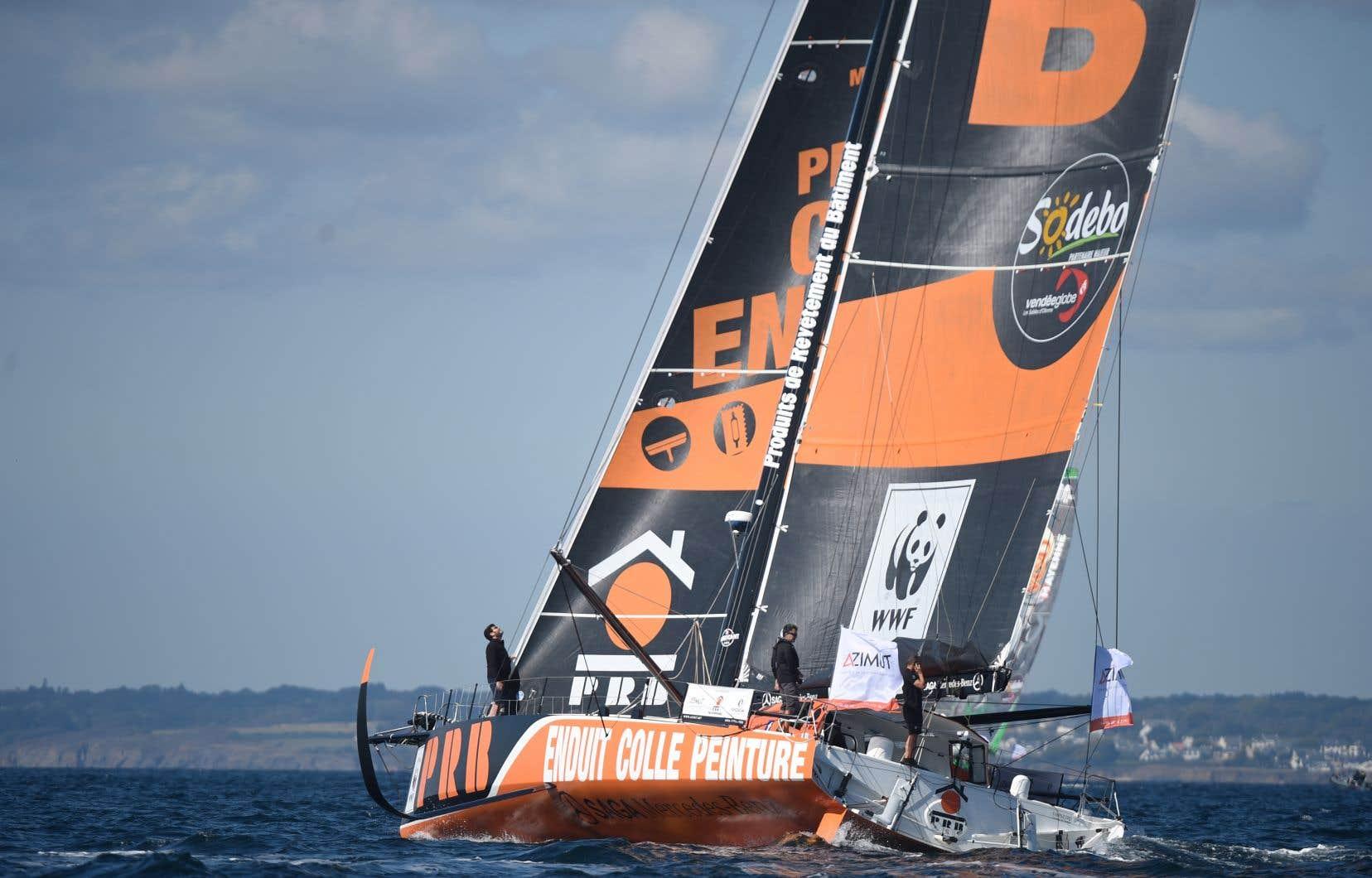 Le voilier du skipper malouin Kevin Escoffier, lors d'une compétition dans l'Atlantique en septembre dernier