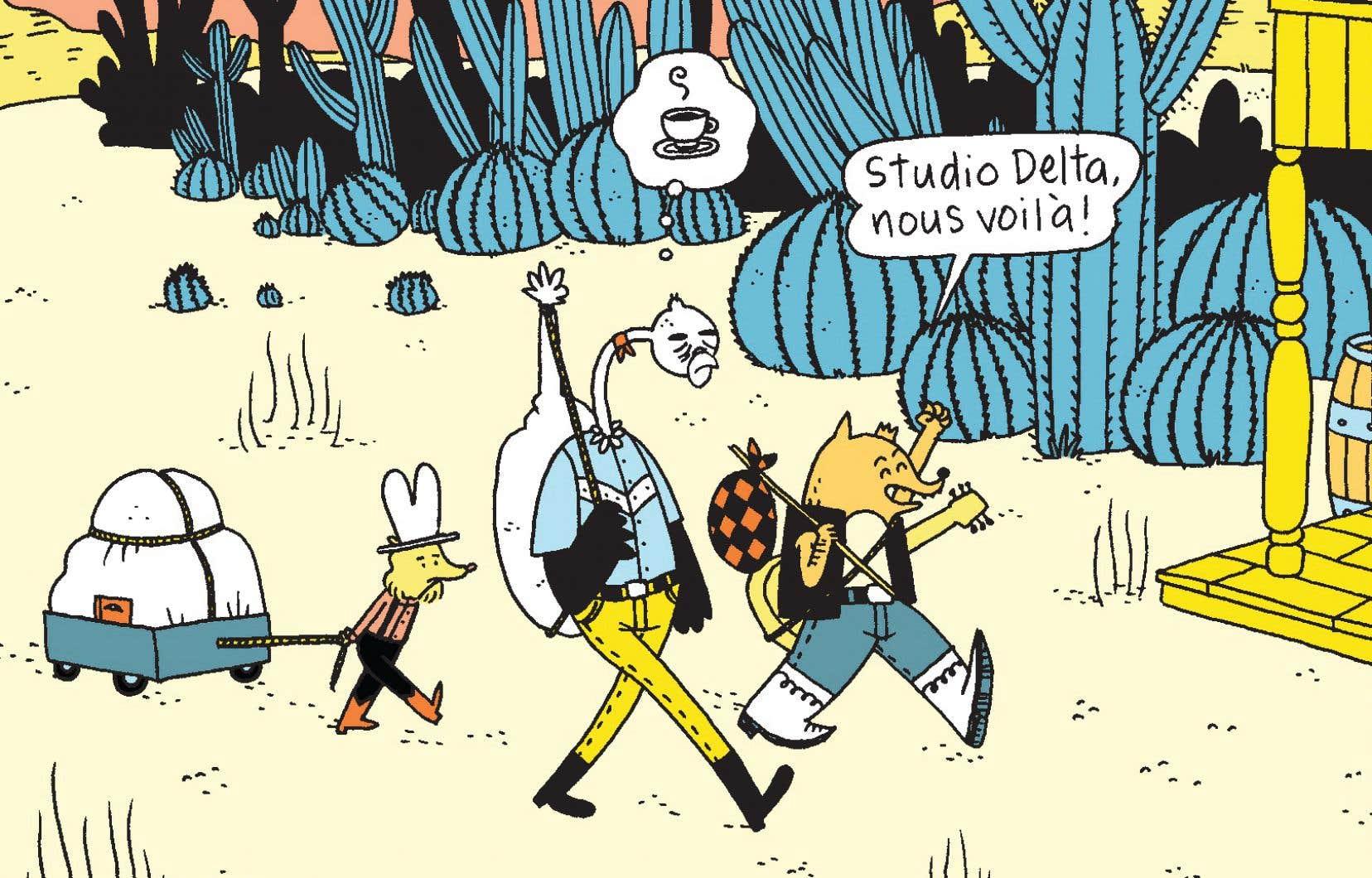 Voici le joyeux trio animalier de la série «Folk», de la bédéiste Iris, parti enregistrer un album dans un mythique studio.