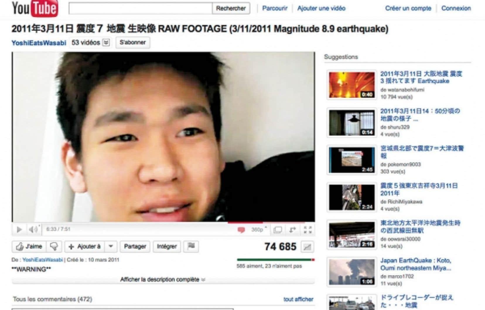 À Tokyo, le jeune Yoshi a mis en ligne sur YouTube des images de lui dans son appartement captées pendant le séisme.<br />