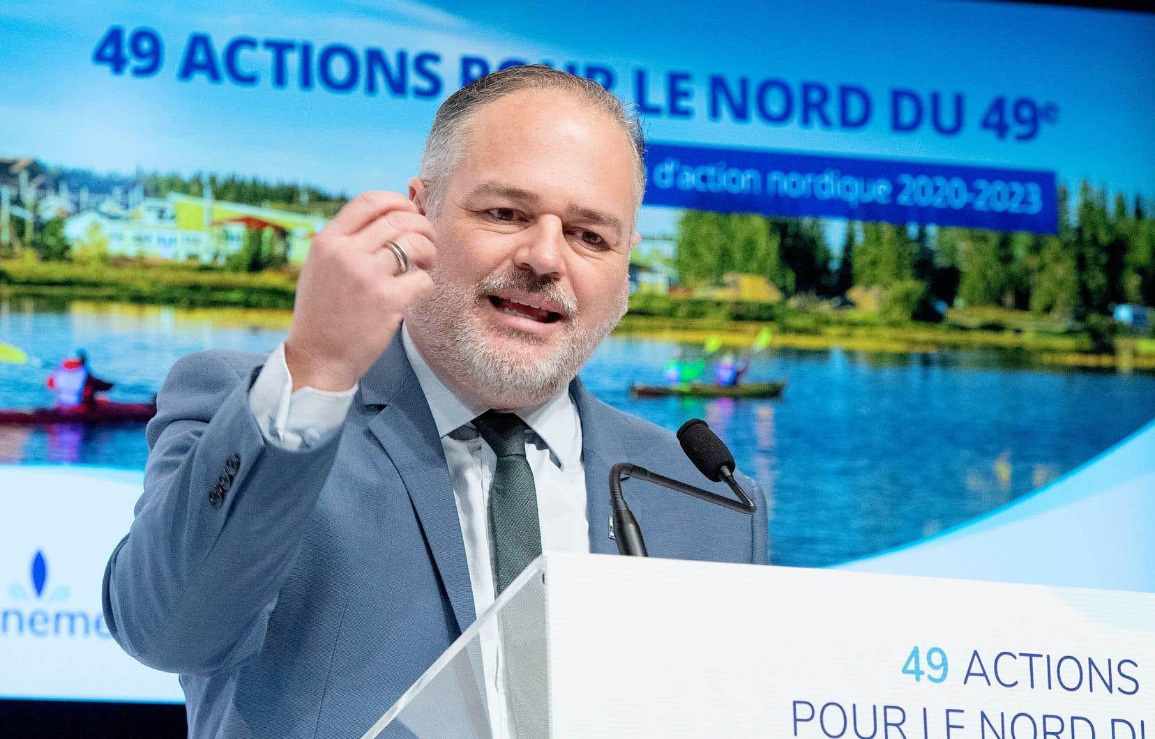 Le ministre des Ressources naturelles, Jonatan Julien, a fait l'annonce du Plan d'action nordique 2020-2023 du gouvernement Legault, lundi à Québec.