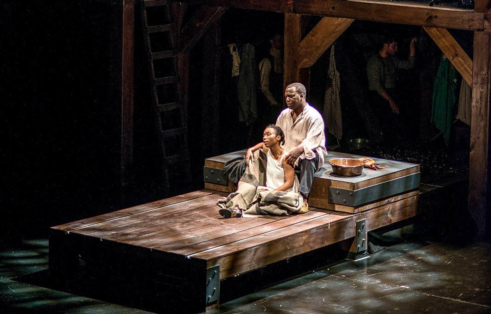 Les comédiens Jenny Brizard et Omari Newton dans «Angélique», montée par le Black Theater Workshop