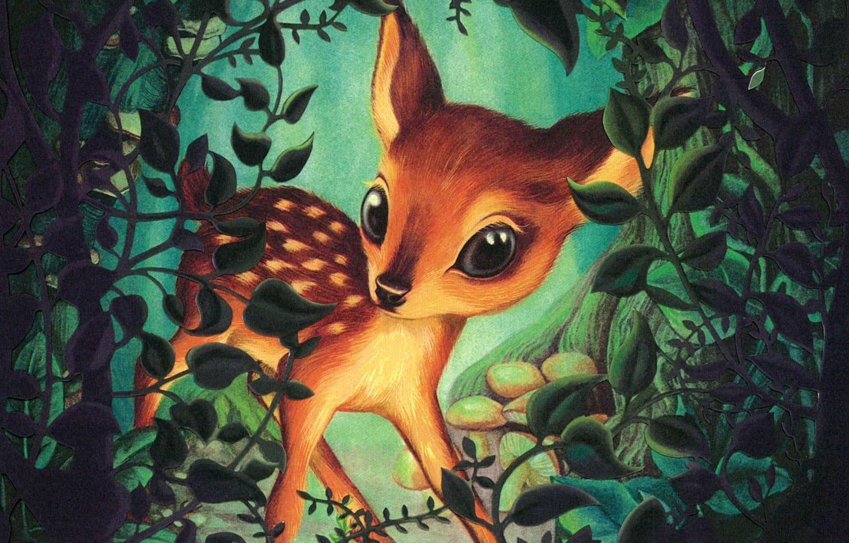 Dans cette sublime édition de «Bambi» écrit en 1923 par l'auteur autrichien, l'illustrateur Benjamin Lacombe évoque à travers ses tableaux le désir de «faire ressentir le danger et la peur qui étreignent ceux qui se sentent traqués».