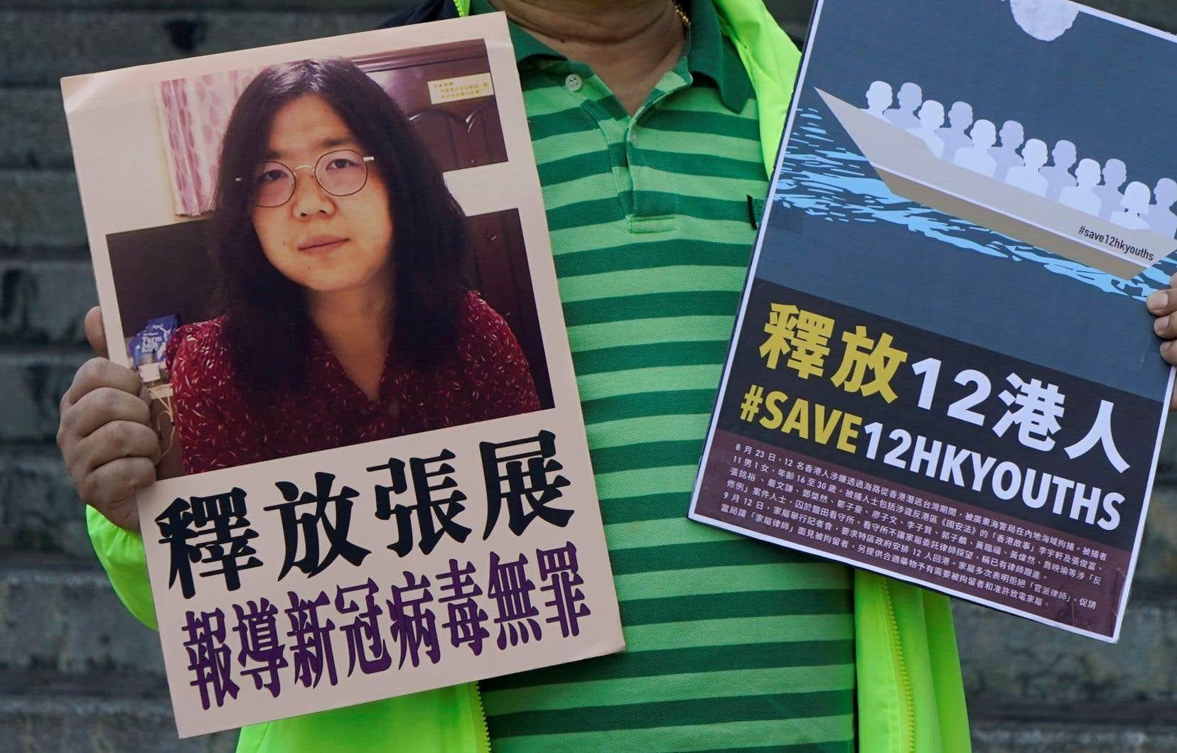 Des partisans pro-démocratie se sont rassemblés devant le tribunal de Shanghai, où l'ancienne avocate a été jugée en l'espace de quelques heures.