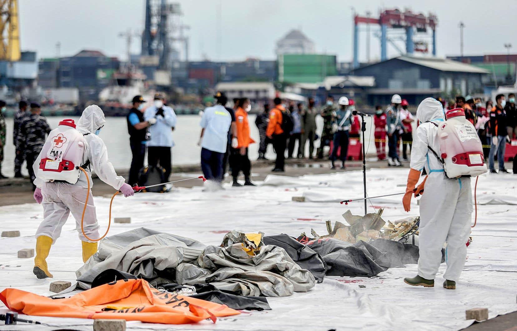 Parmi les débris rapportés au principal port de Jakarta, on pouvait voir un pneu d'avion, des morceaux de fuselage aux couleurs de la compagnie ou encore un vêtement rose d'enfant.