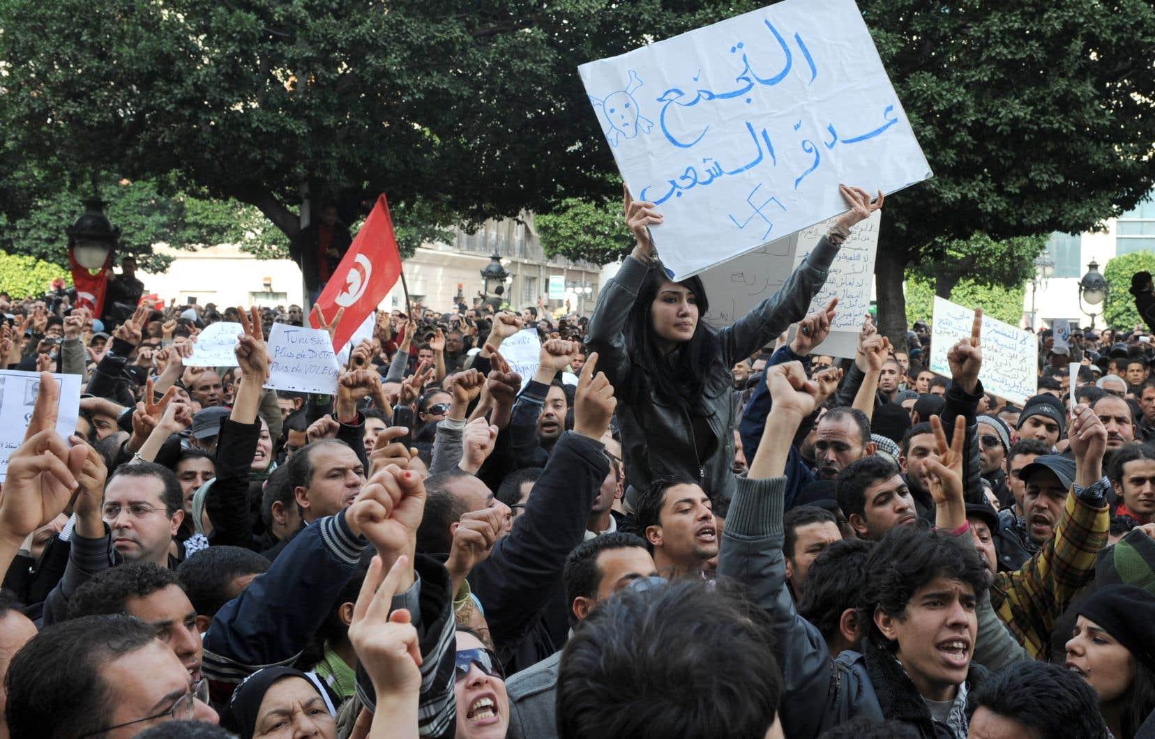 «Le 14janvier 2011, après à peine un mois de manifestations, les Tunisiens ont en effet constaté avec stupeur la fin d'un règne sans partage de 23ans sur leur pays», écrit l'auteur.