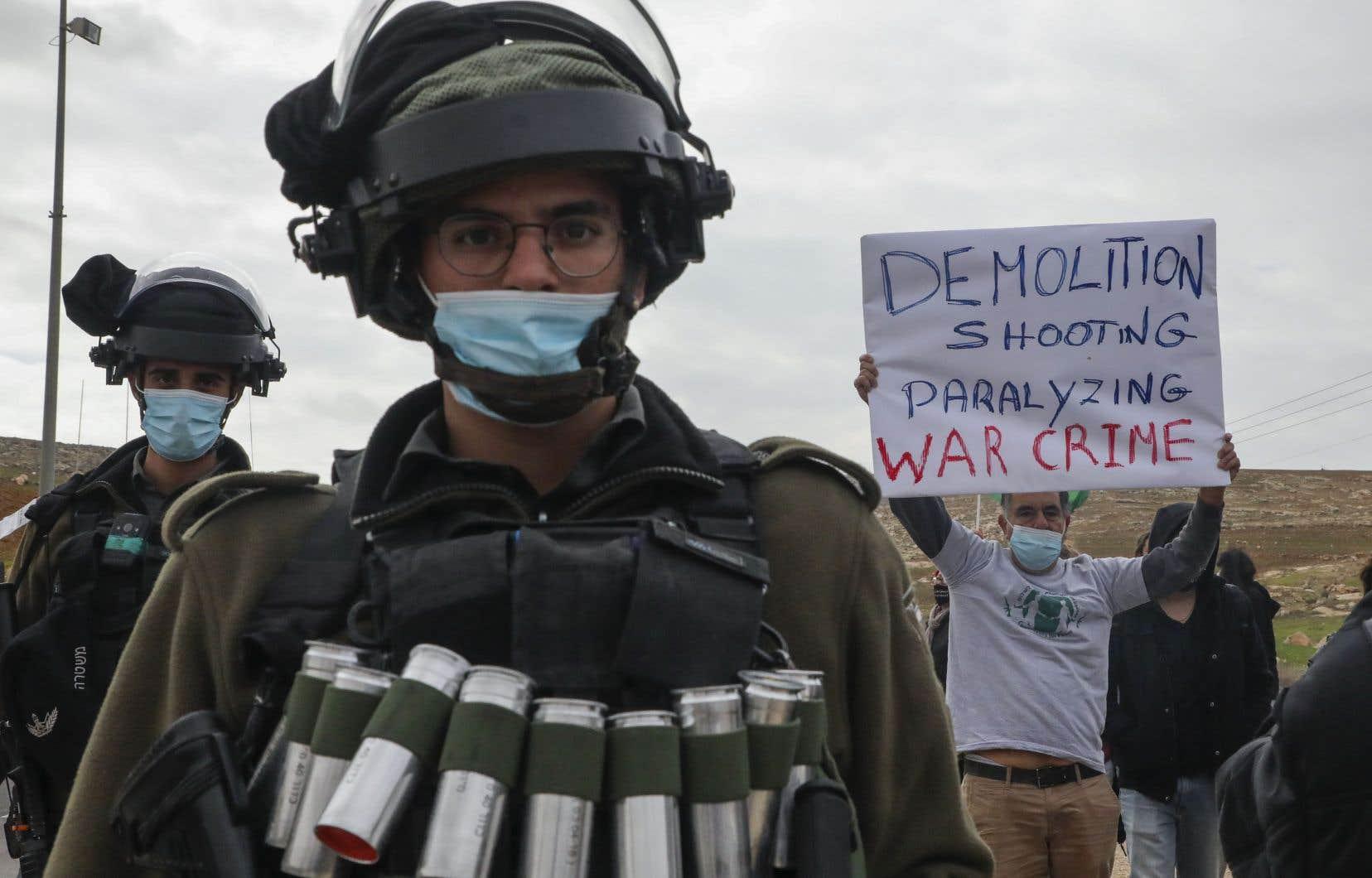 Manifestation contre la colonisation israélienne, le 15 janvier 2021 à Hébron, en Cisjordanie occupée