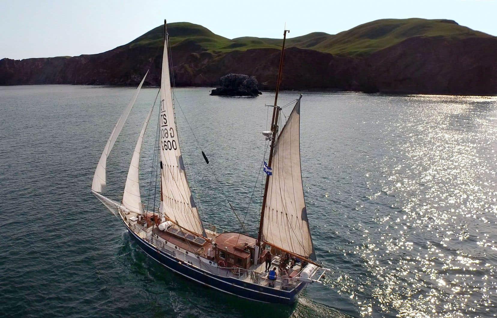 Le voilier <em>ÉcoMaris</em>, qui devrait emmener les passagers de la Basse-Côte-Nord jusqu'à Terre-Neuve et en Nouvelle-Écosse.