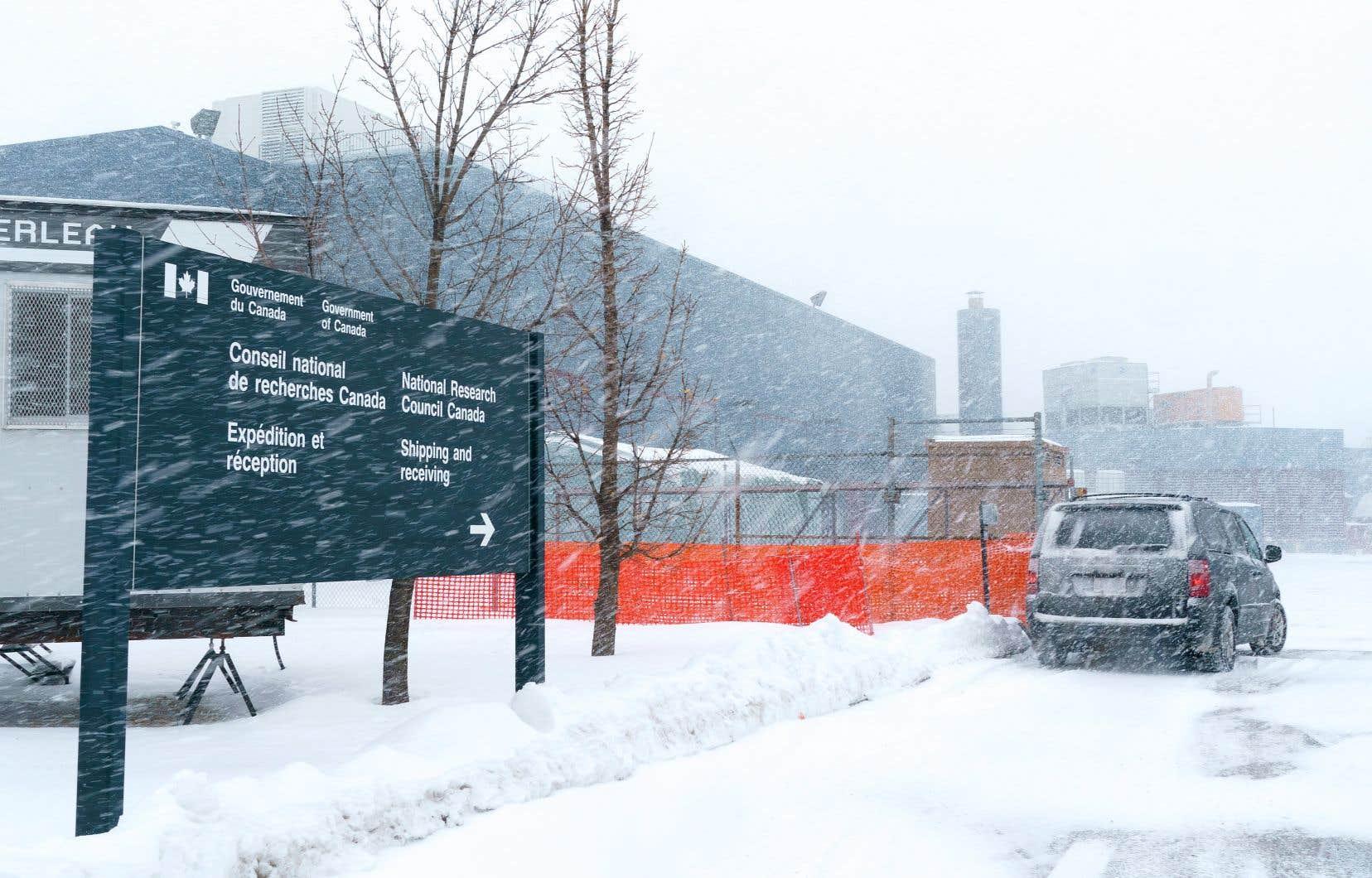 La nouvelle installation du Conseil national de recherches,à Montréal, où seront produit des doses Novavax de vaccin contre la COVID-19 lorsque le bâtiment sera terminé plus tard cette année
