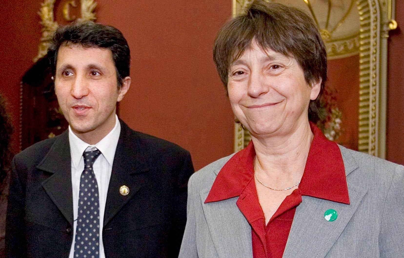 Amir Khadir et Françoise David après l'assermentation du premier député solidaire, en 2008