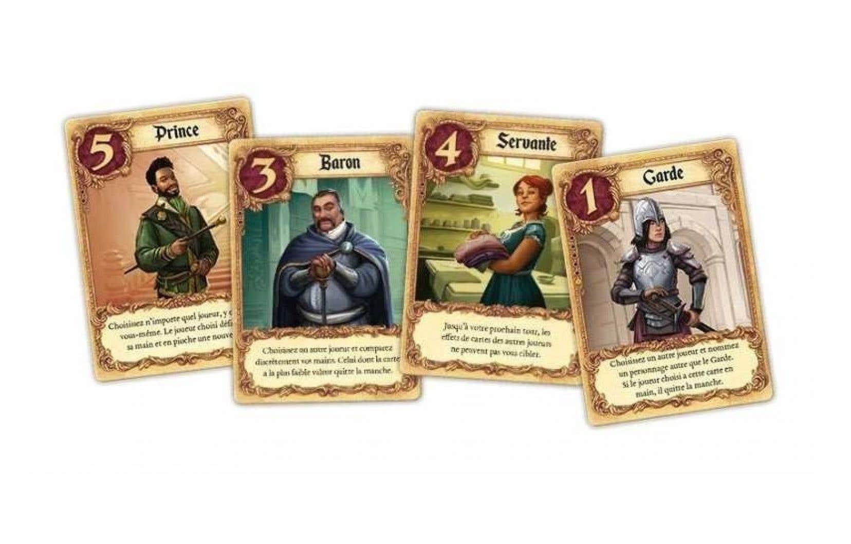 Prince, comtesse, servante, soldat… Chaque carte dispose d'une valeur et d'un pouvoir spécial quand on la joue.
