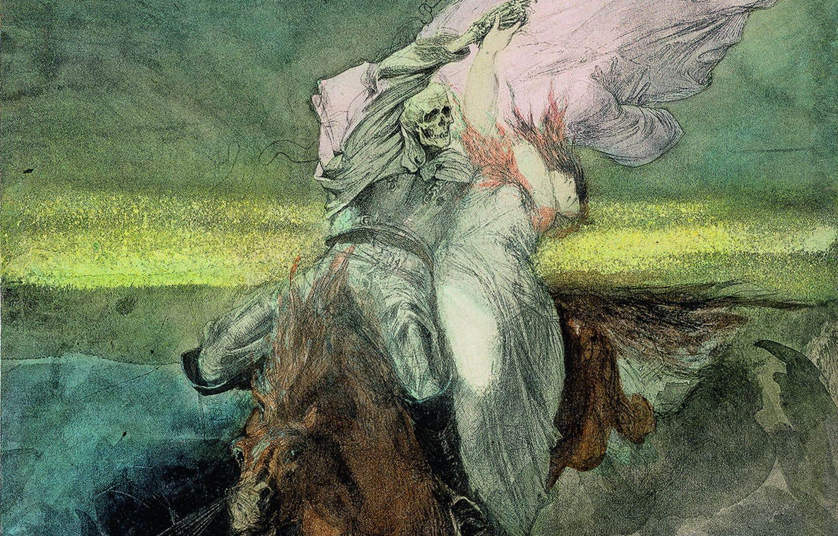 Détail de «Le Rapt/La jeune fille et la Mort», vers 1863 de Hans Makart (1840-1884)