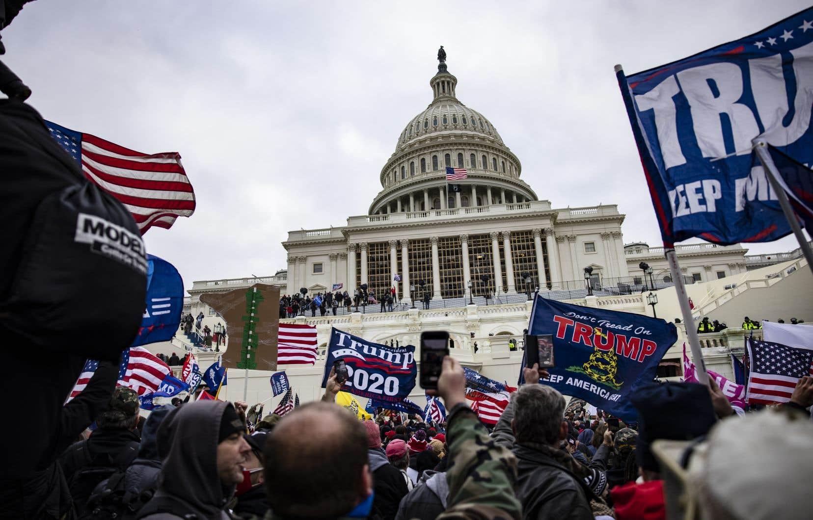Scène du  rassemblement des partisans de Donald Trump  le 6 janvier  dernier,  à Washington