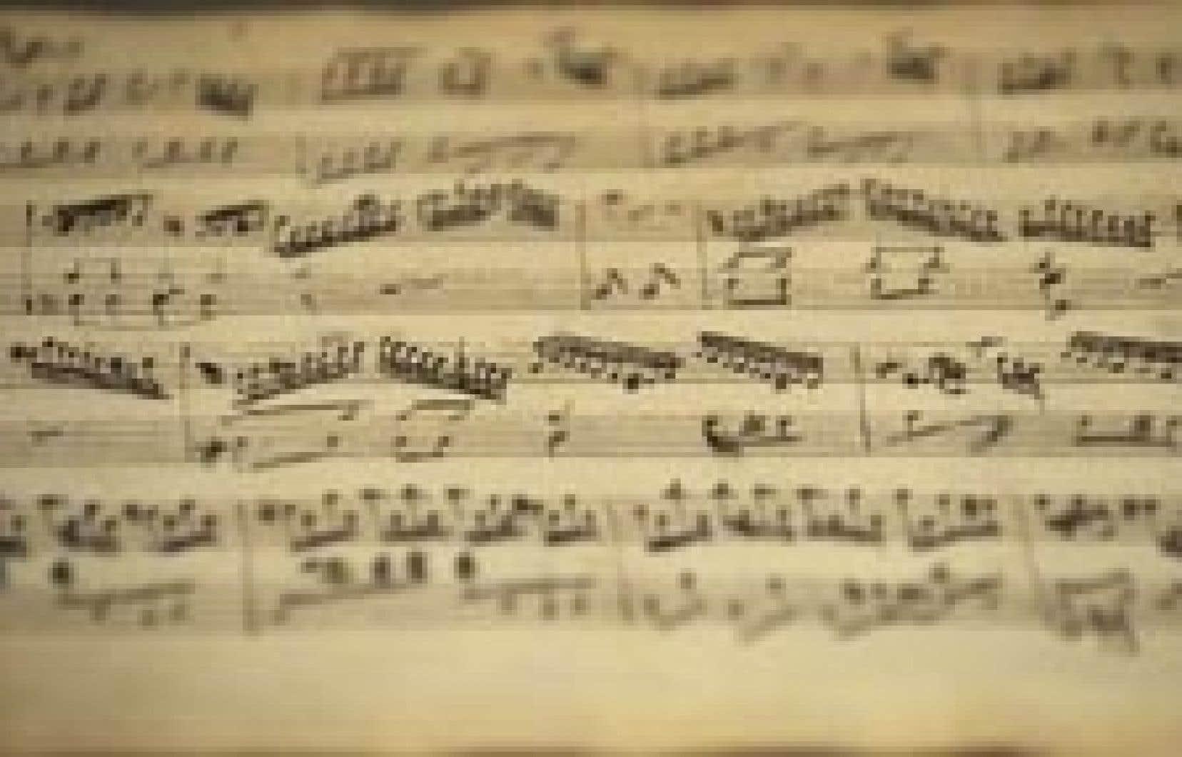 L'une des deux partitions découvertes et exposées pour la première fois. Les compositions sont exposées à Salzbourg, dans une maison où a jadis vécu le prodige.
