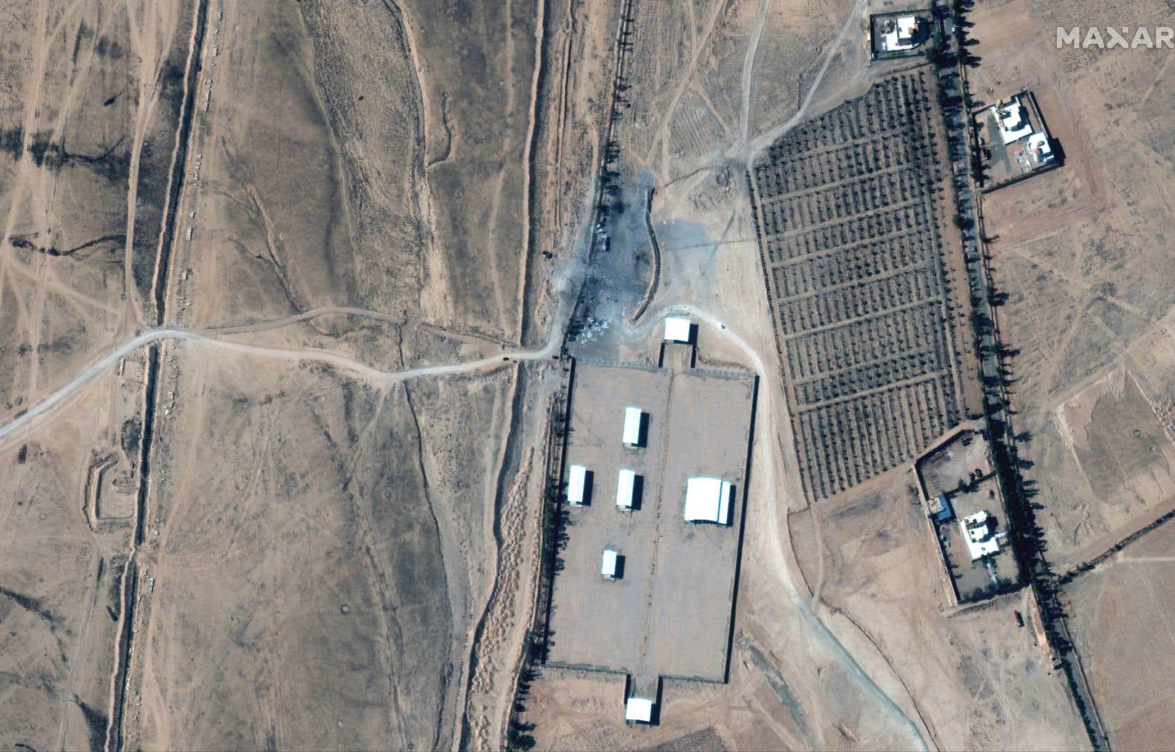 Image satellite montrant la zone ciblée par les frappes aériennes américaines en Irak.