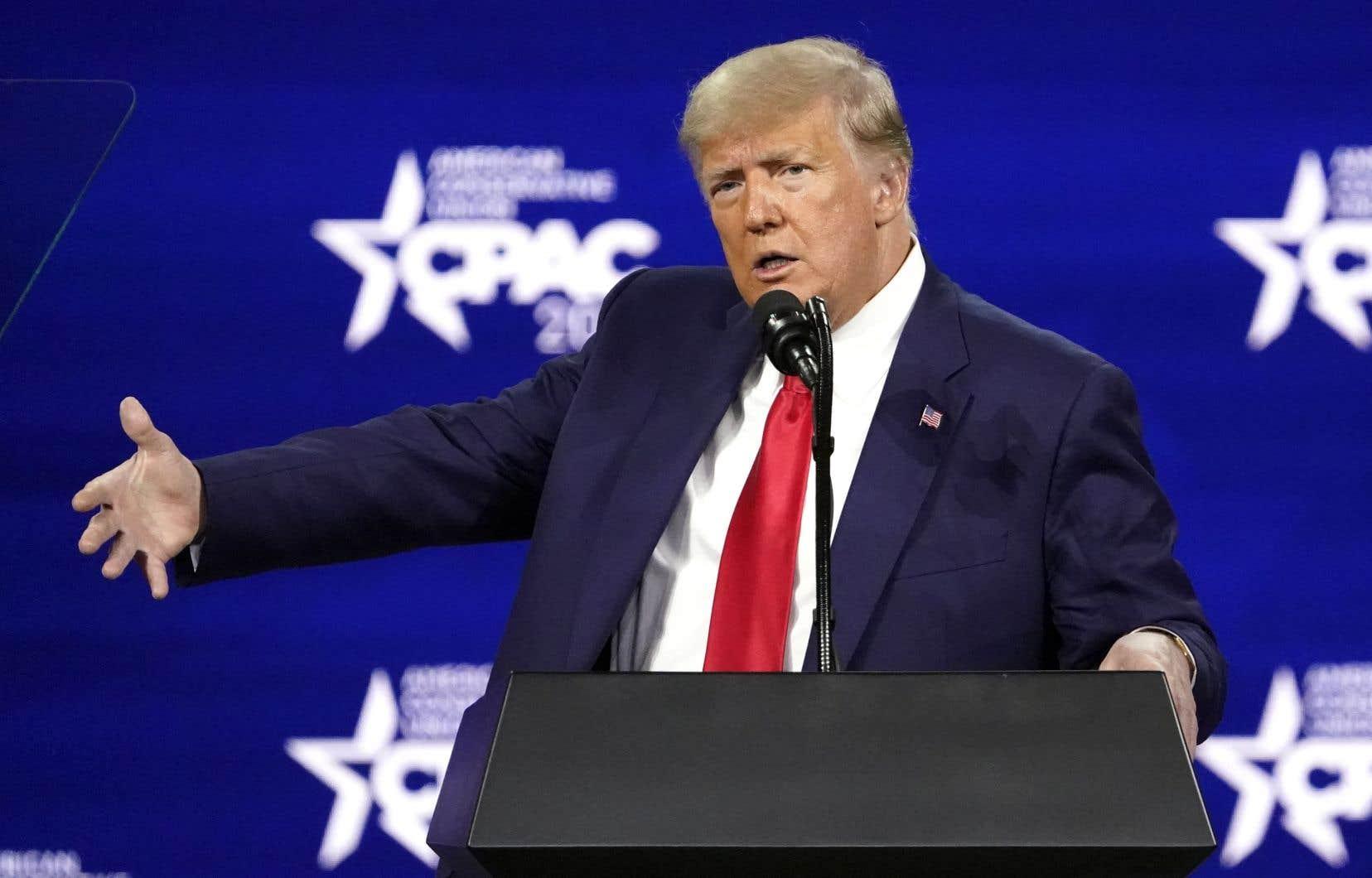L'ancien président Donald Trump, lors de son discours au congrès du Conservatice Political Action Conference