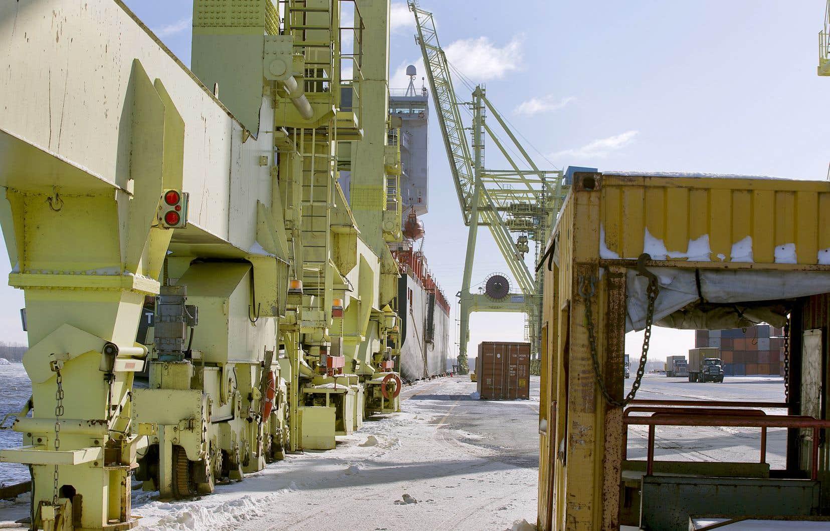 Le gouvernement Trudeau a annoncé qu'il donnait son feu vert au projet de terminal à Contrecœur en dépit de la menace qu'il représente pour l'habitat essentiel du chevalier cuivré. Sur notre photo: un terminal de conteneurs au port de Montréal.