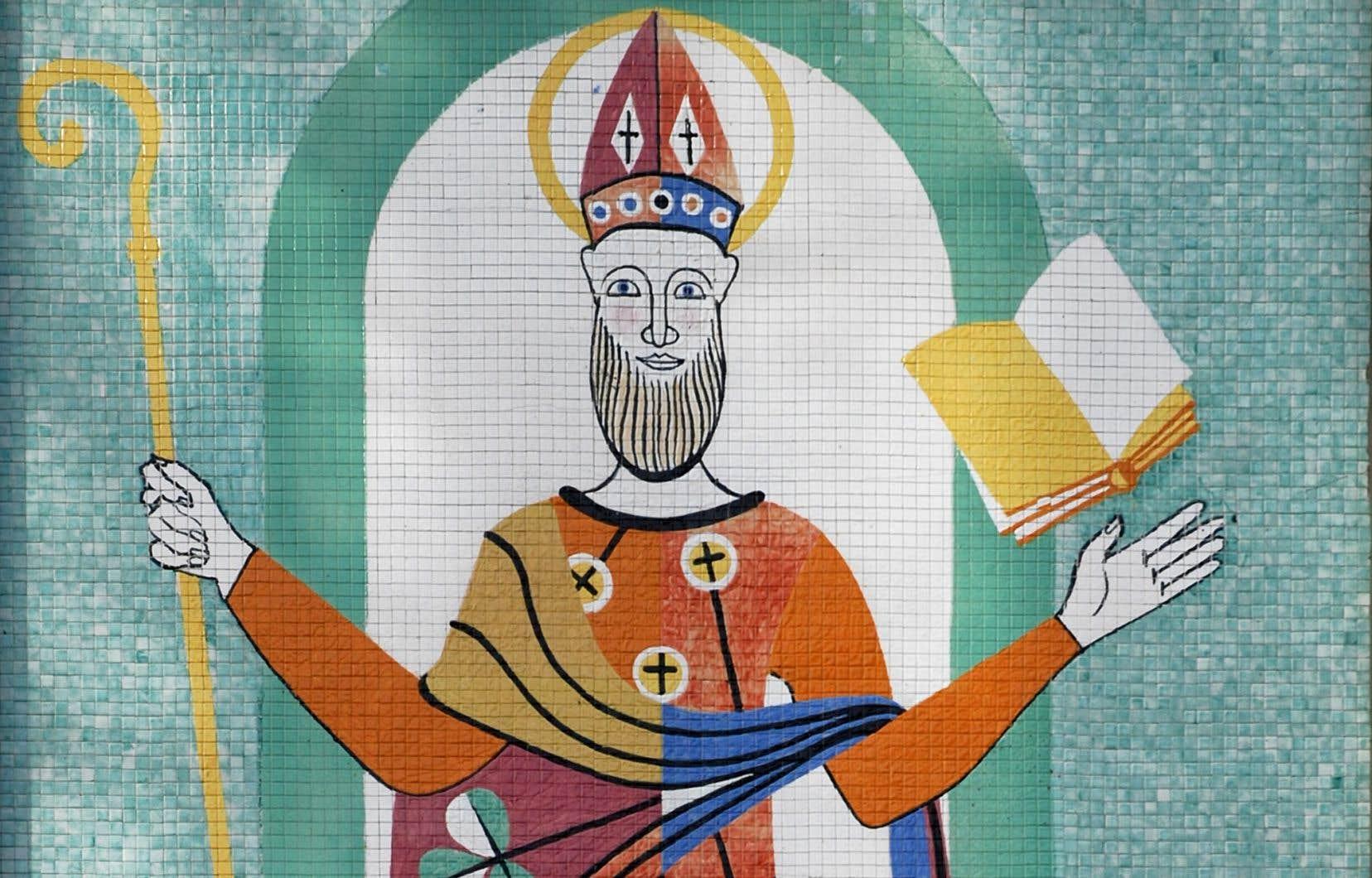 La murale conçue par Alfred Pellan en 1958 et installée sur la façade du 142, rue Dufferin, a Granby, représente un saint Patrick stylisé, réalisé sous forme de mosaïque.