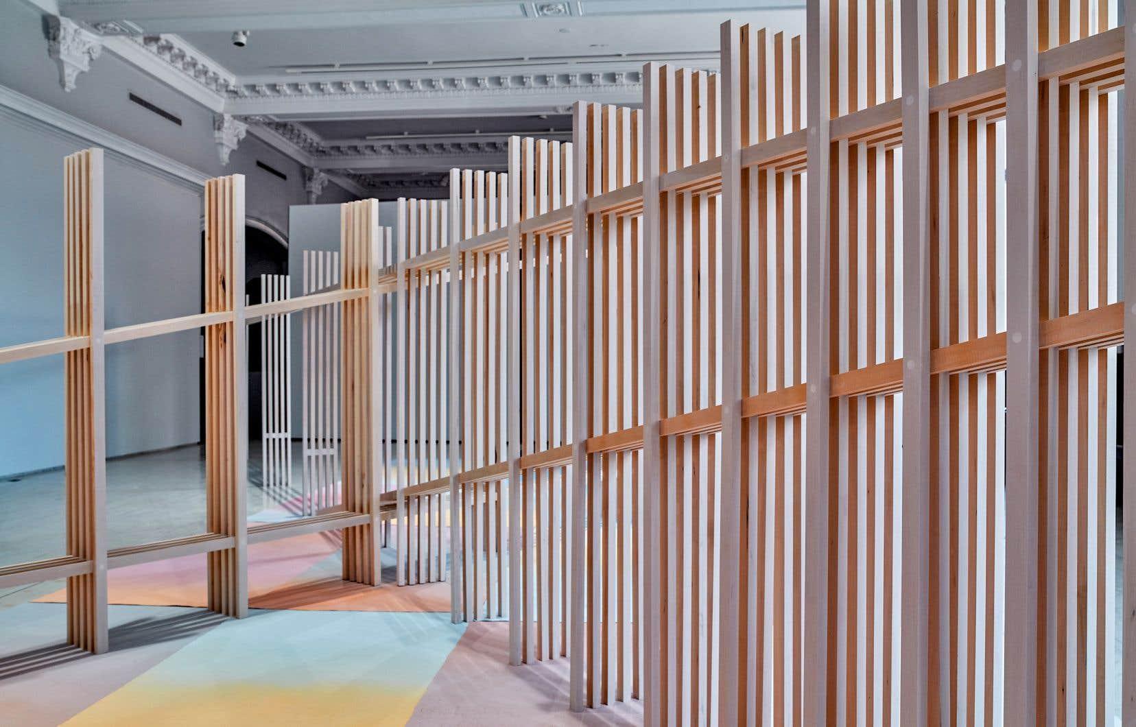 Vue partielle de l'installation «S'écoulent les jours, loin derrière l'oeil» (2021), de Marie-Claire Blais, à la Fondation Molinari