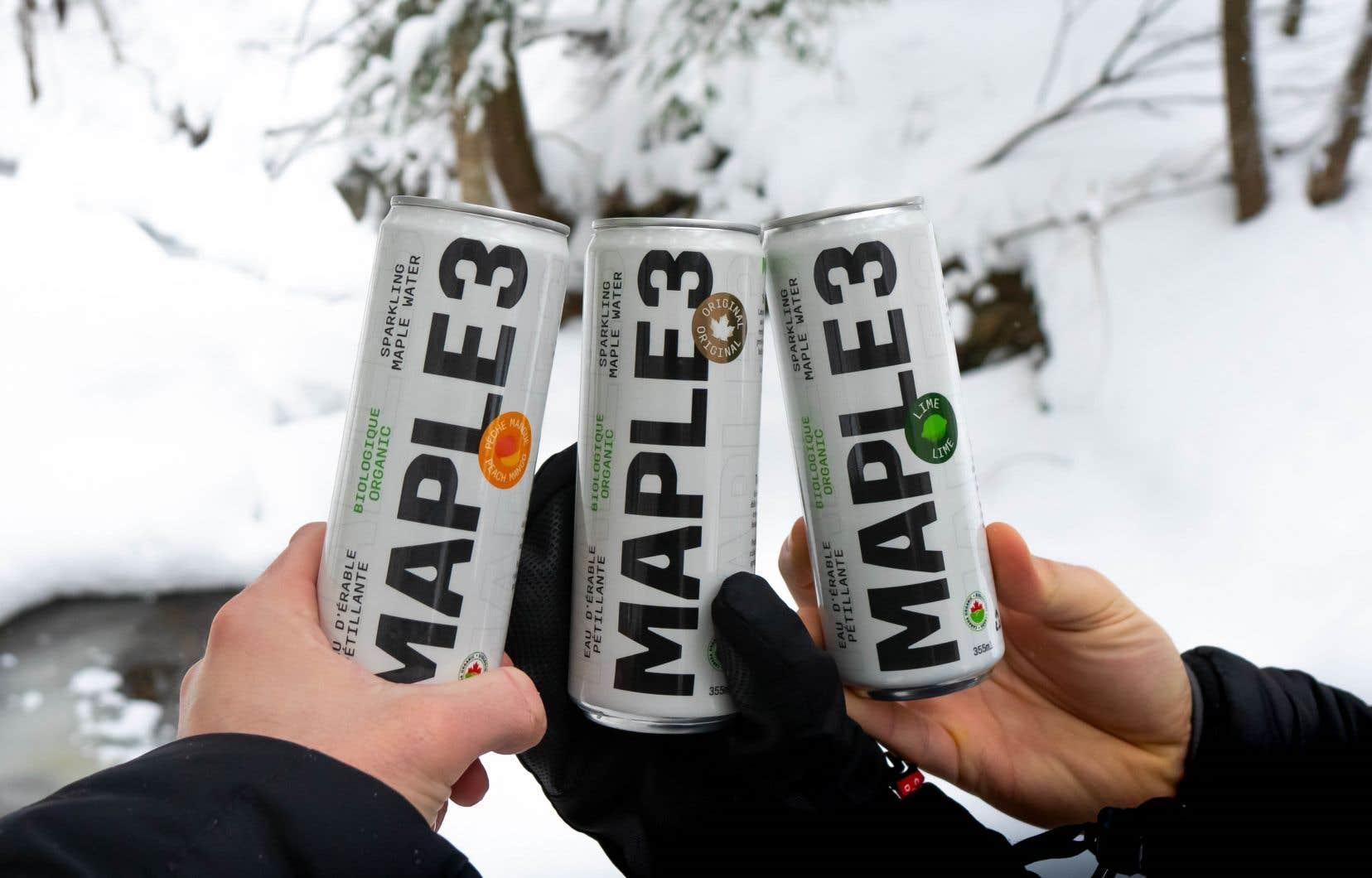 Ce printemps, Maple 3 ajoute à son offre une eau pétillante d'eau d'érable déclinée en trois saveurs différentes: originale, lime et pêche-mangue.