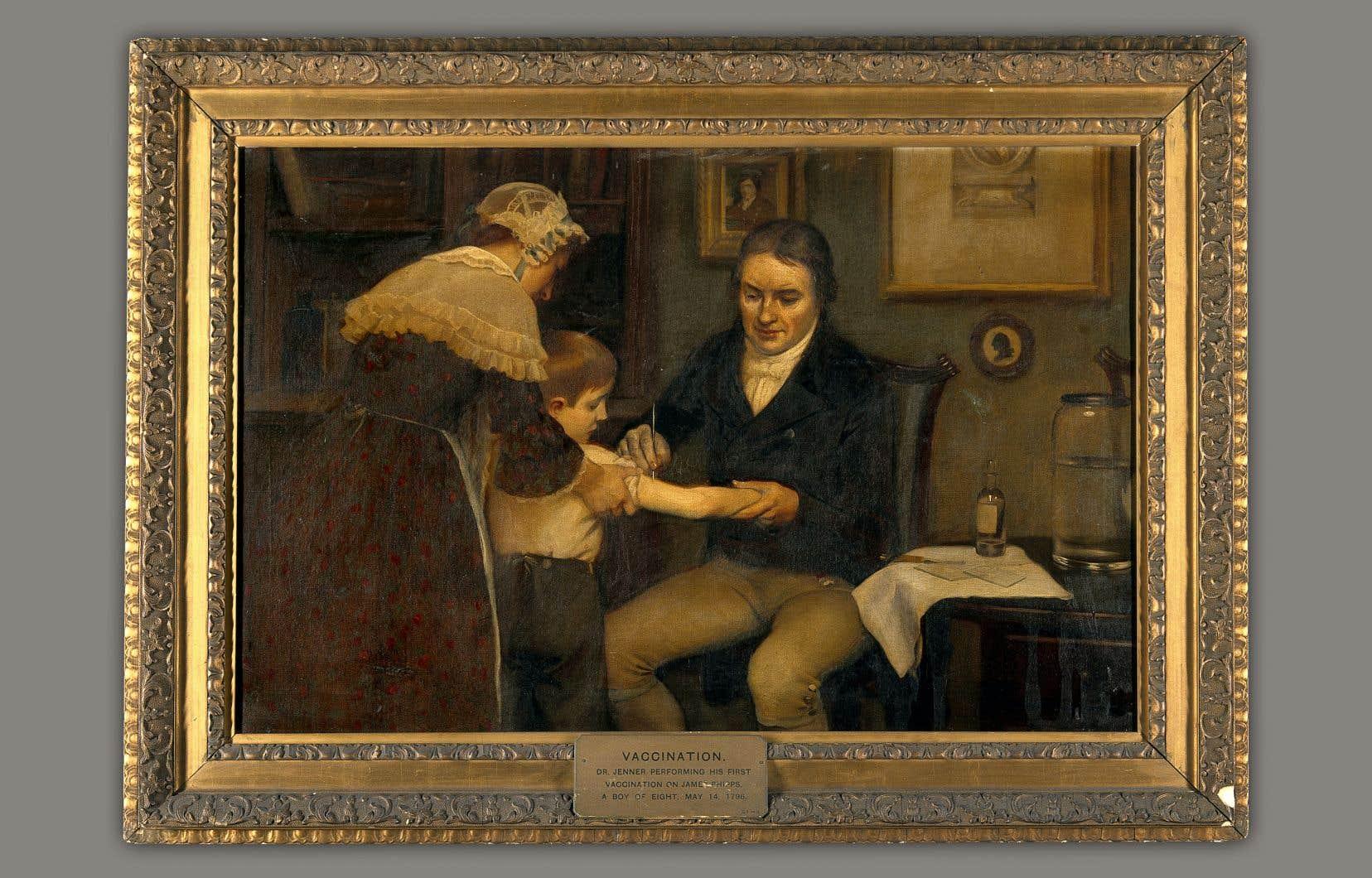 Huile sur toile d'Ernest Board, représentant le docteur Edward Jenner effectuant sa première vaccination sur un enfant de 8 ans, en 1796.