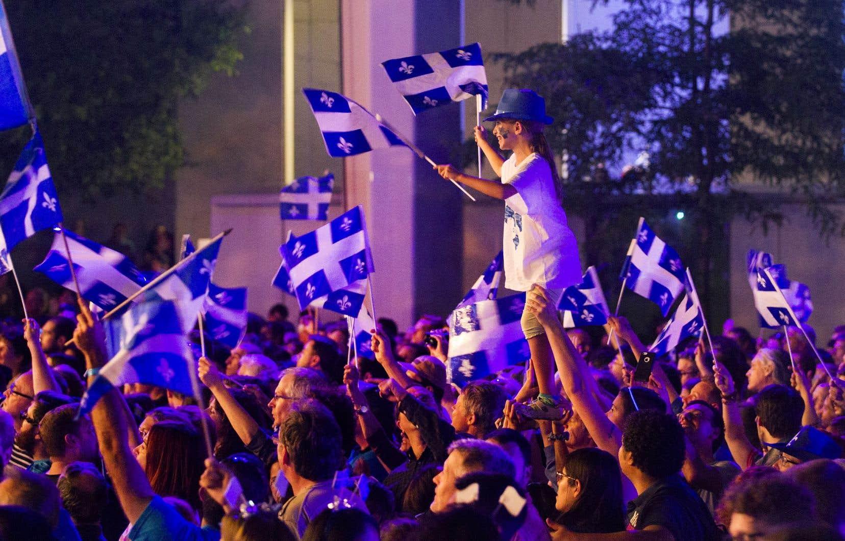 Spectacle de la Fête nationale sur la Place des festivals, à Montréal, en 2015.
