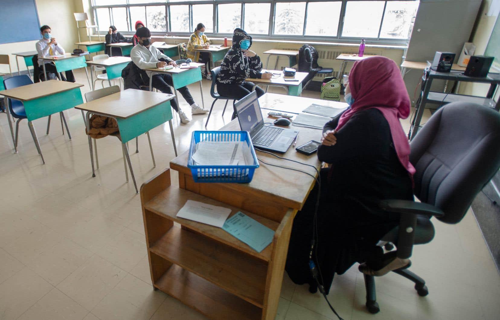 Une classe de secondaire à l'Académie Marymount de Montréal, en novembre dernier.