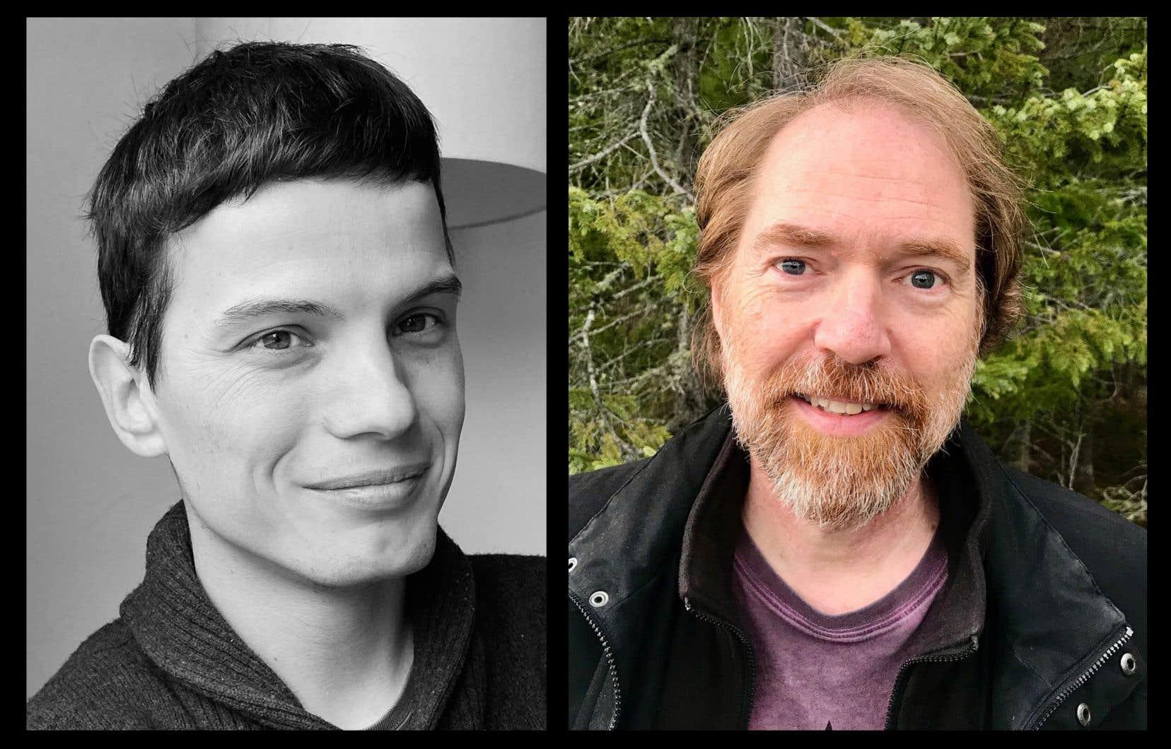 Les écrivains David Bélanger (à gauche) et Michel Biron