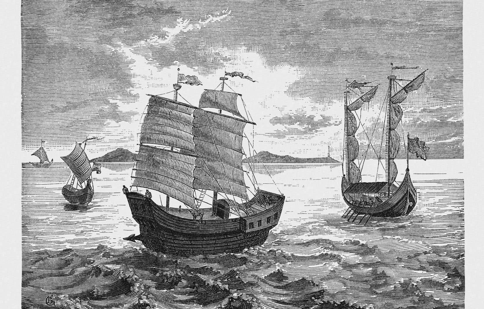 Une gravure en bois de 1888 illustrant des navires sous le commandement de Fernand de Magellan lors de sa circumnavigation amorcée en 1519.