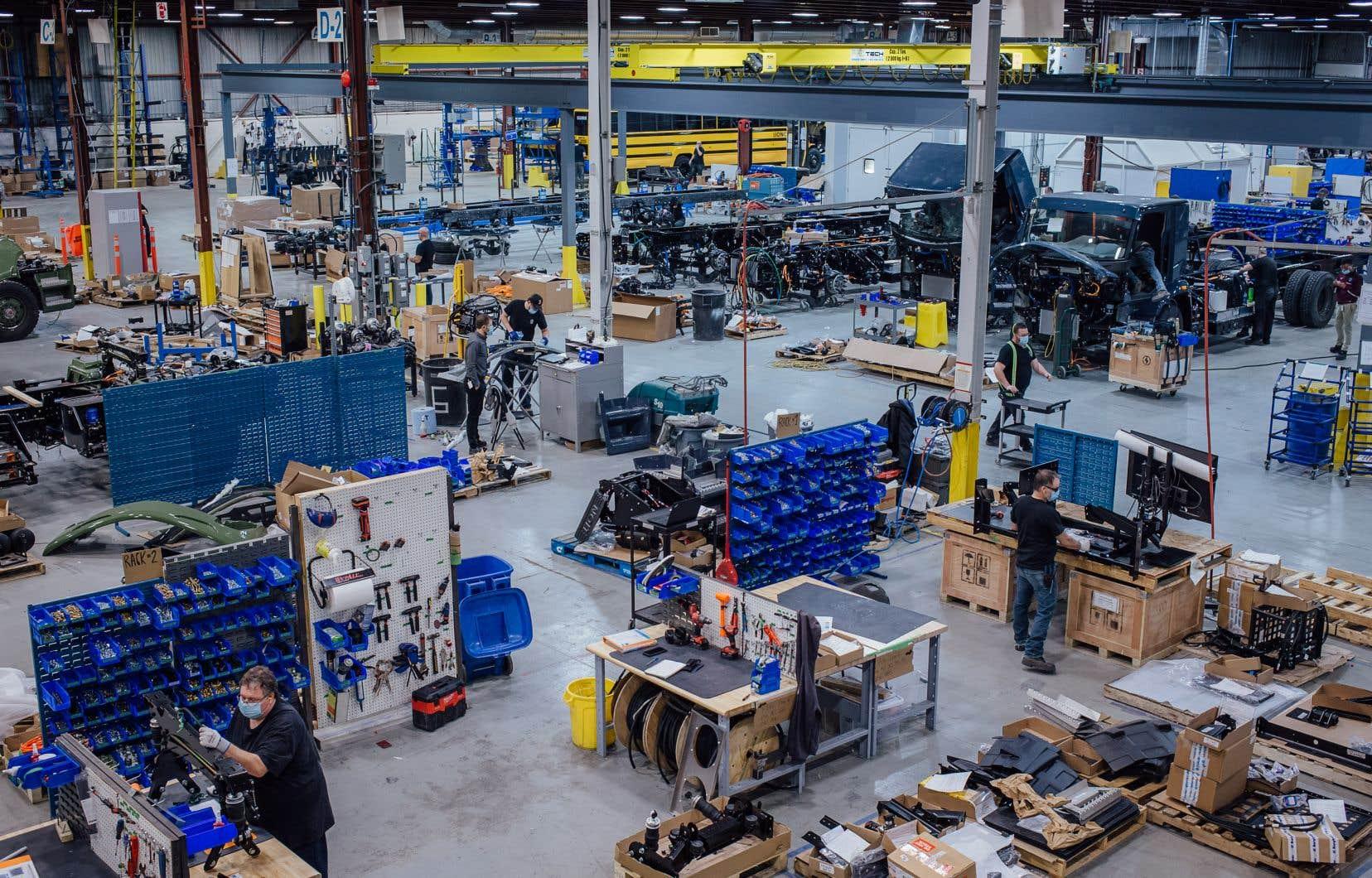 L'usine de Saint-Jérôme del'entreprise Lion, spécialisée dans la production d'autobus et de camions électriques.
