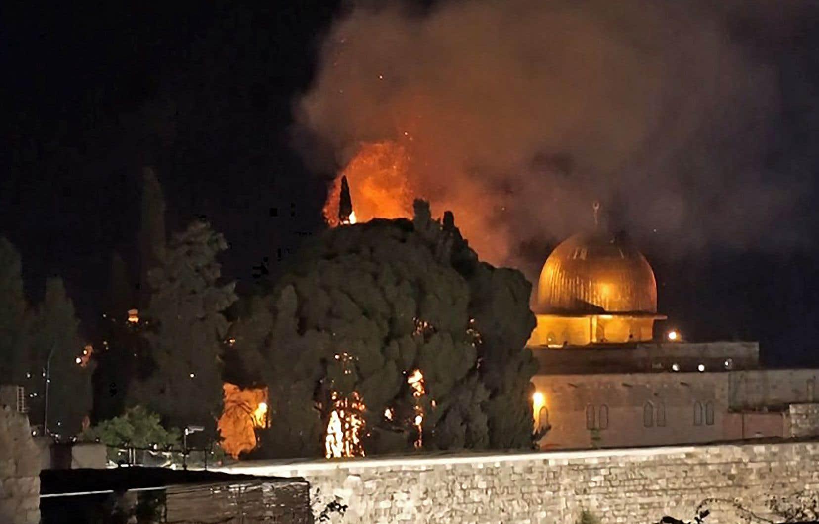 La capture d'écran de l'AFPTV montre l'incendie, visible à plus de deux kilomètres à la ronde, qui s'est déclaré en soirée près de l'esplanade des Mosquées.