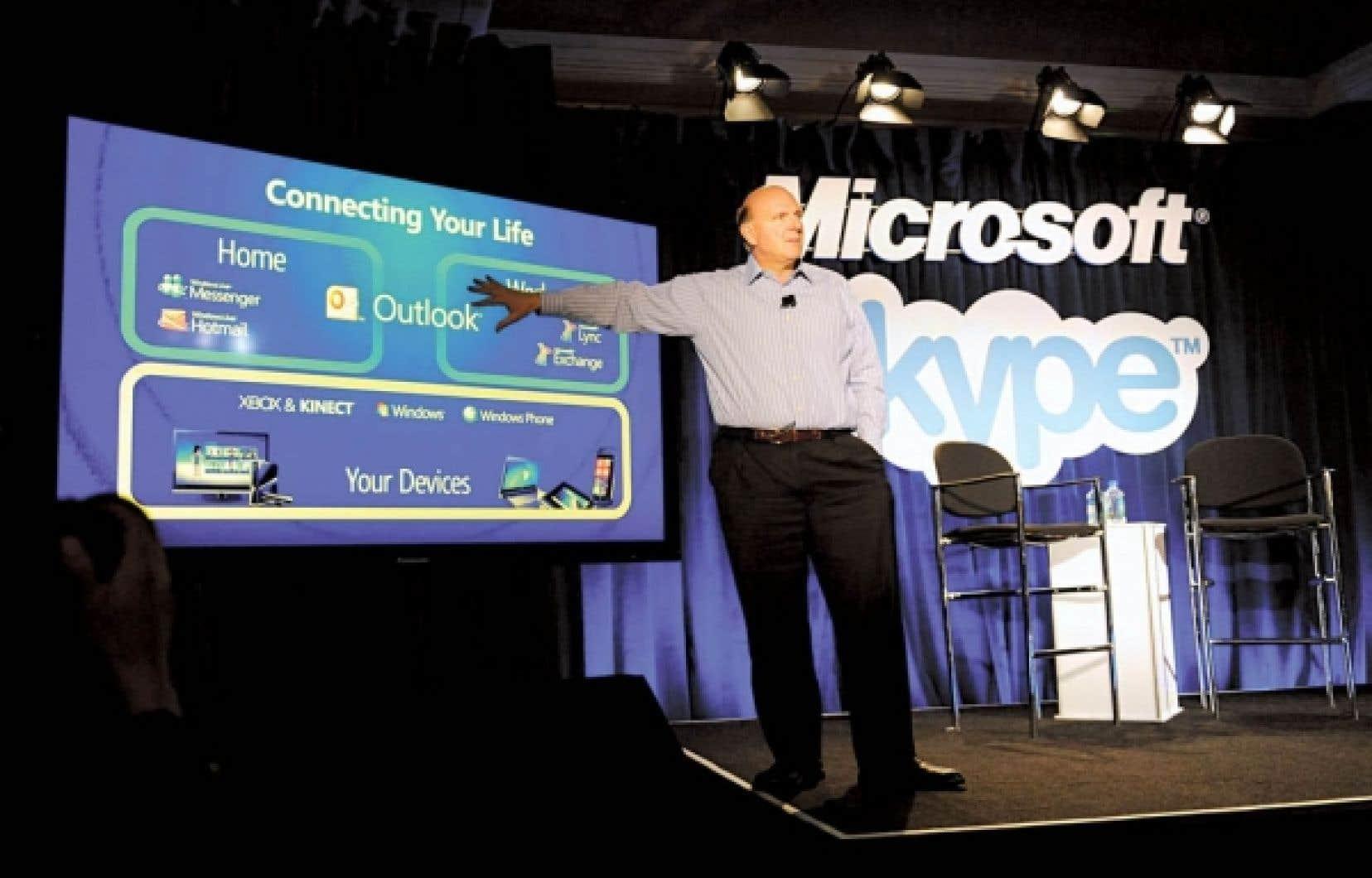 Steve Balmer, chef de la direction de Microsoft, doit affronter le scepticisme des analystes financiers et, sans doute, de plusieurs actionnaires quant au prix payé pour acquérir Skype.