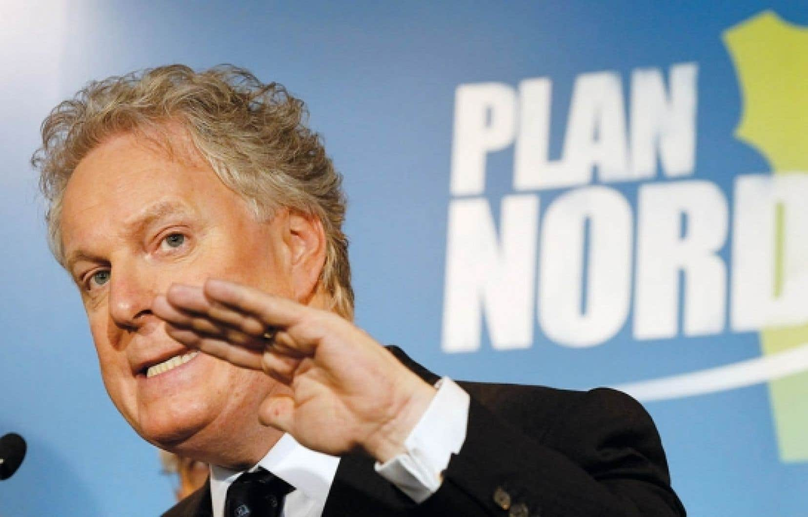 Le premier ministre Jean Charest lors du d&eacute;voilement en grande pompe du tant attendu Plan Nord, lundi dernier.<br />