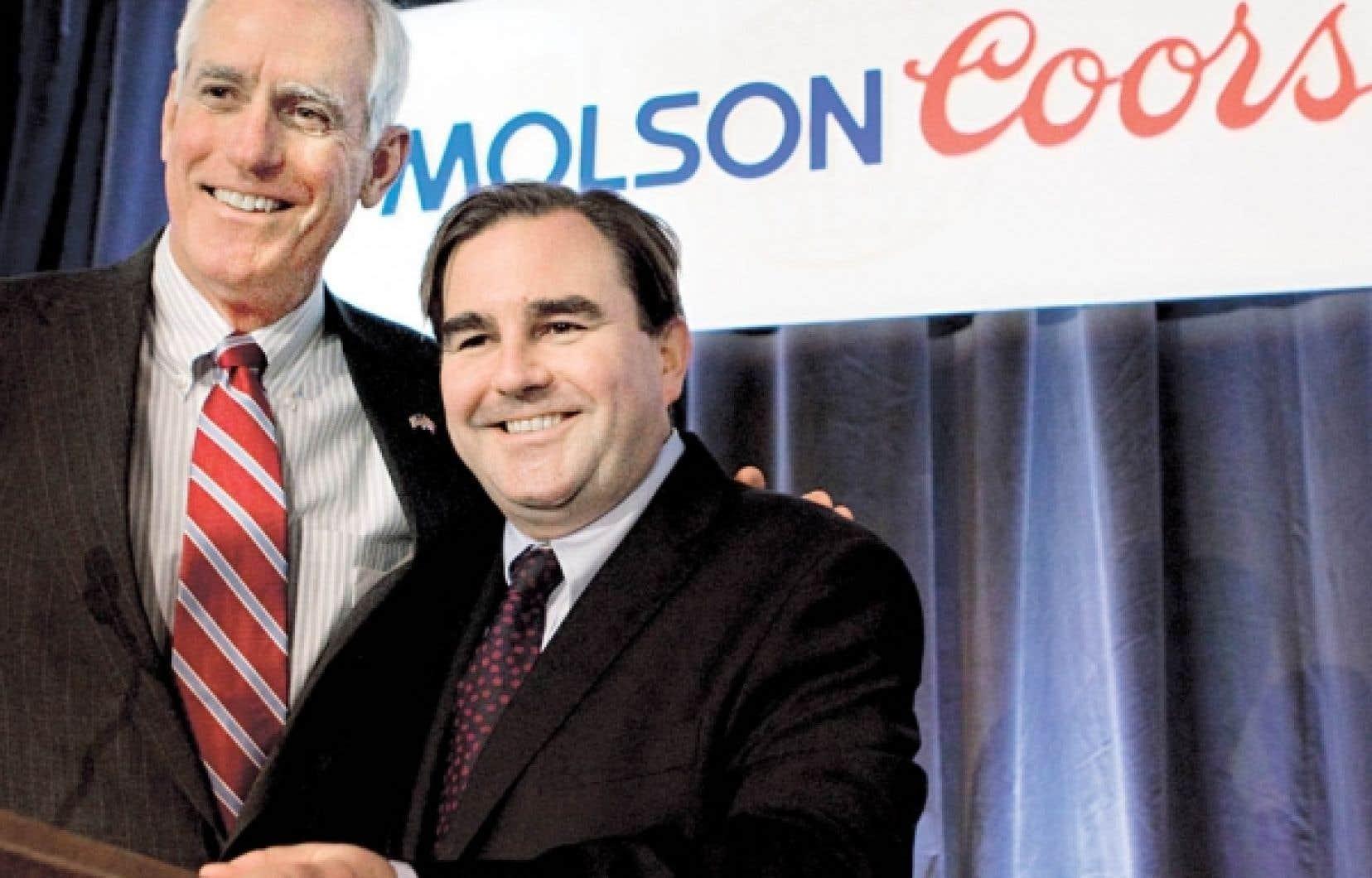 Andrew Molson (à droite) succédera à Peter Coors au poste de président du conseil d'administration de Molson Coors Brewing Company.<br />