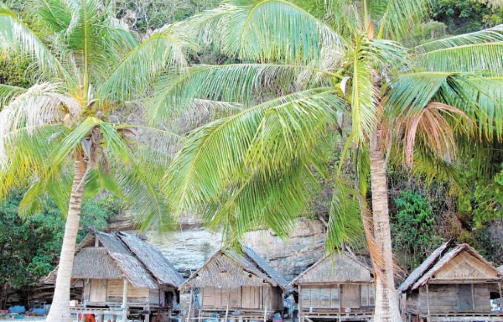 De petites huttes de pêcheurs à Bambou Island: ici, pas de hauts pics rocheux comme dans les îles sœurs.