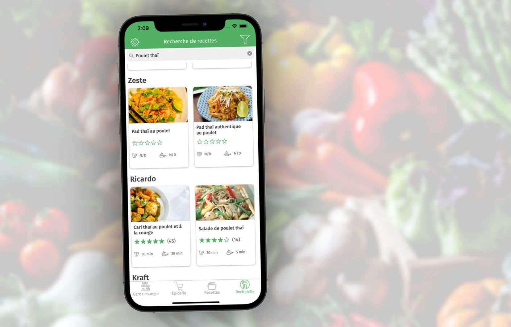 L'application Cuisine vise à aider les consommateurs à optimiser leurs achats alimentaires en affichant les rabais de la circulaire des épiciers de la province et en proposant les recettes de plusieurs sites de cuisine pour trouver un moyen d'utiliser des aliments de son frigo dont on ne sait trop que faire.