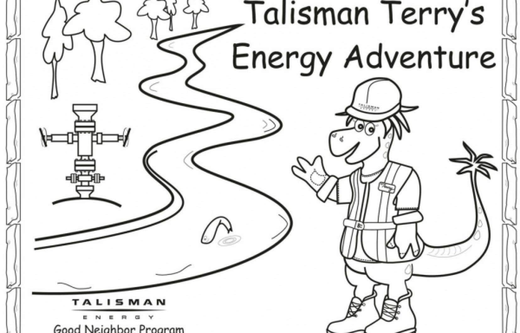 La couverture du livre à colorier de Talisman Energy vantant aux enfants les mérites du gaz de schiste.