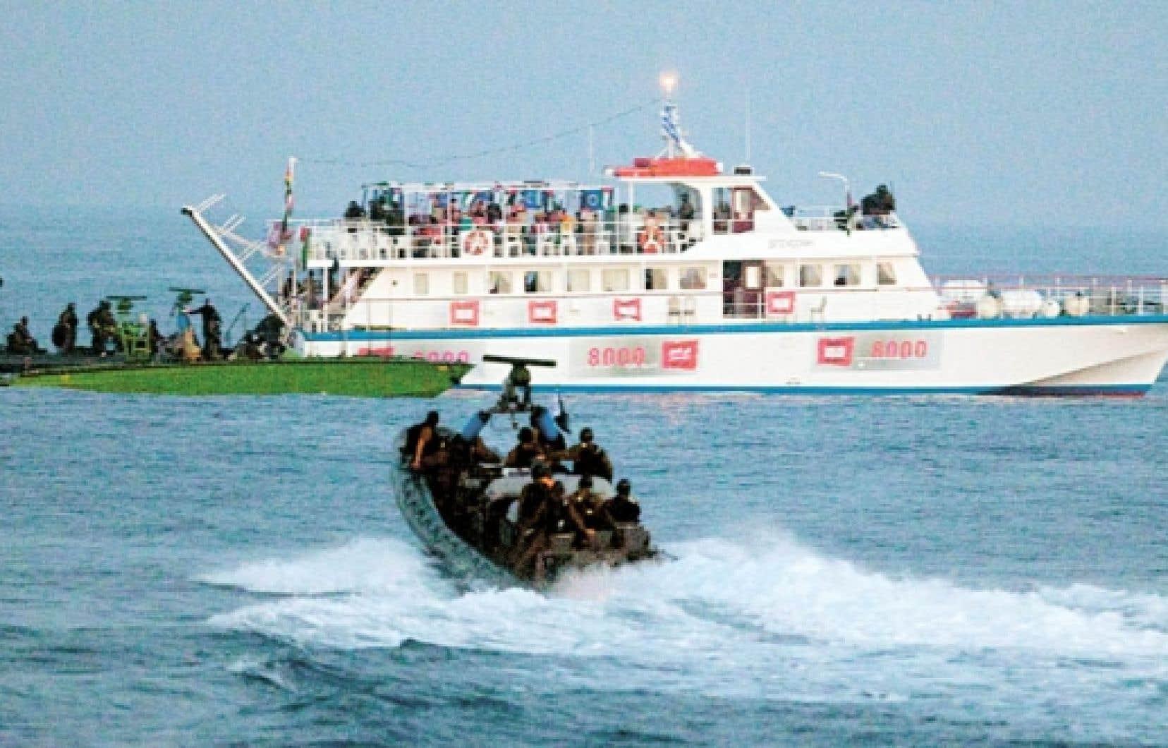 Un des six bateaux de la flottille de la paix était abordé par les forces israéliennes, en mai dernier.<br />