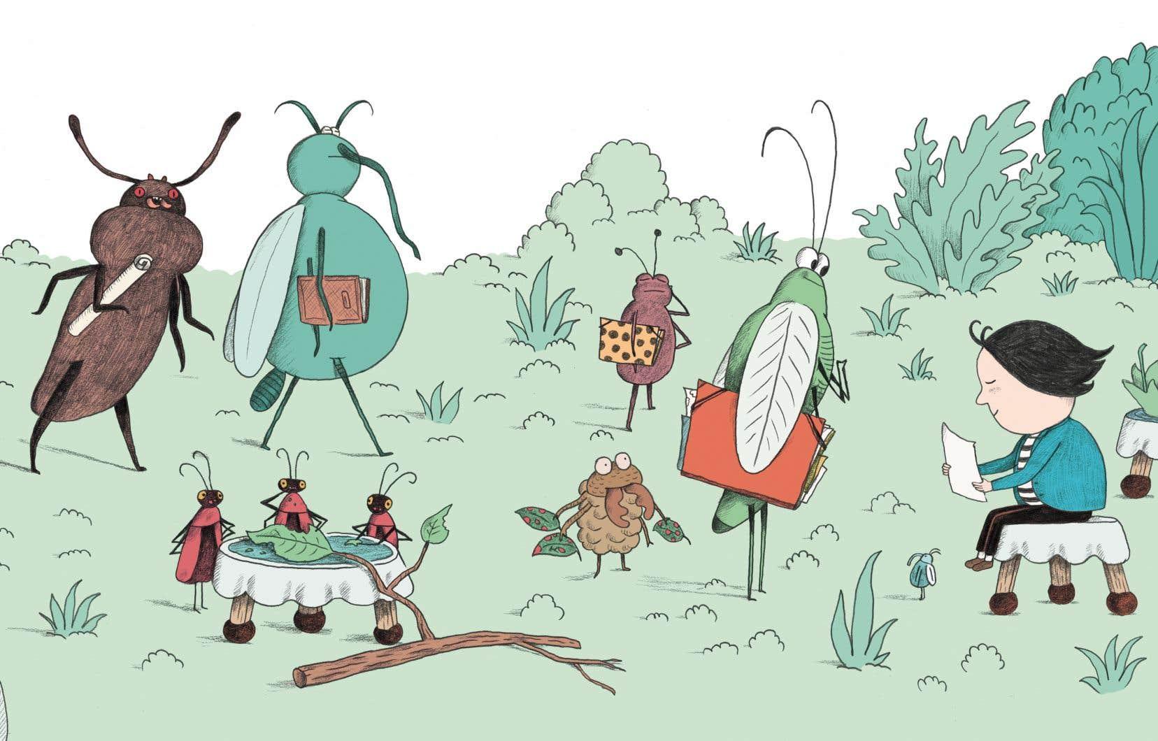Une planche de l'album «L'école de dessin de Petit Pois» de Davide Cali et Sébastien Mourrain
